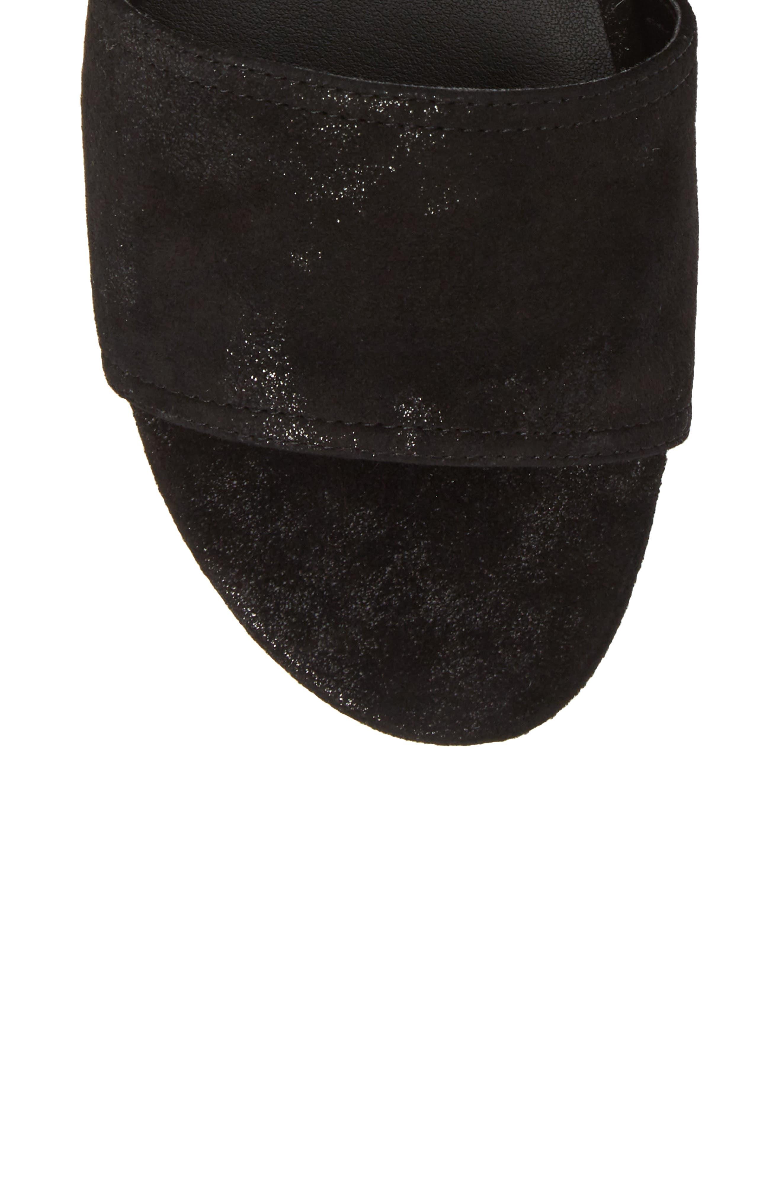 Saba Platform Sandal,                             Alternate thumbnail 5, color,                             Black Printed Suede