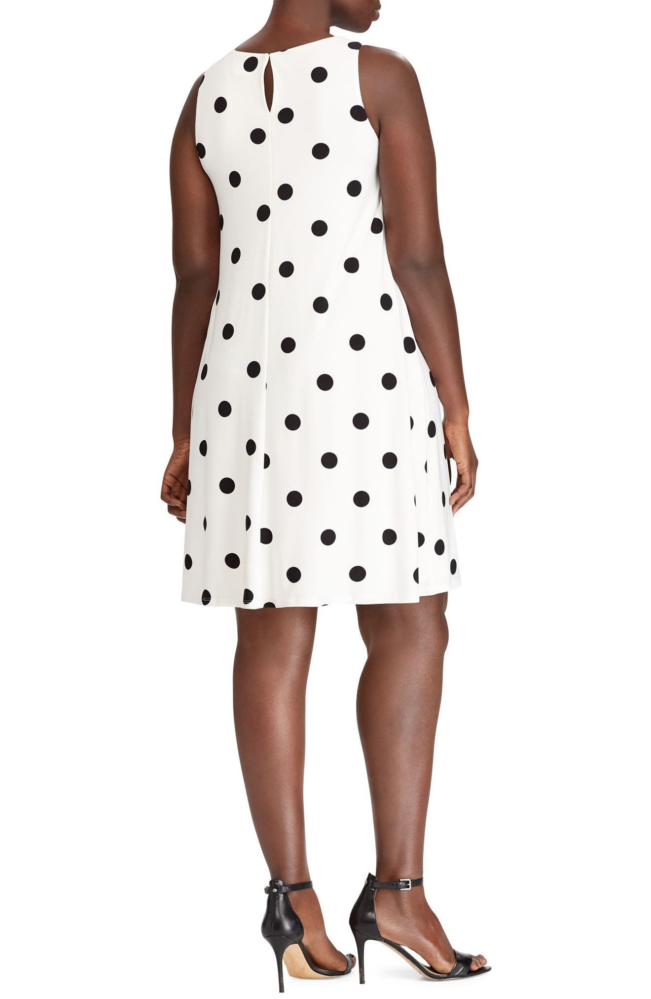 Peninsula Dot A-Line Dress,                             Alternate thumbnail 2, color,                             Col. Cream-Black
