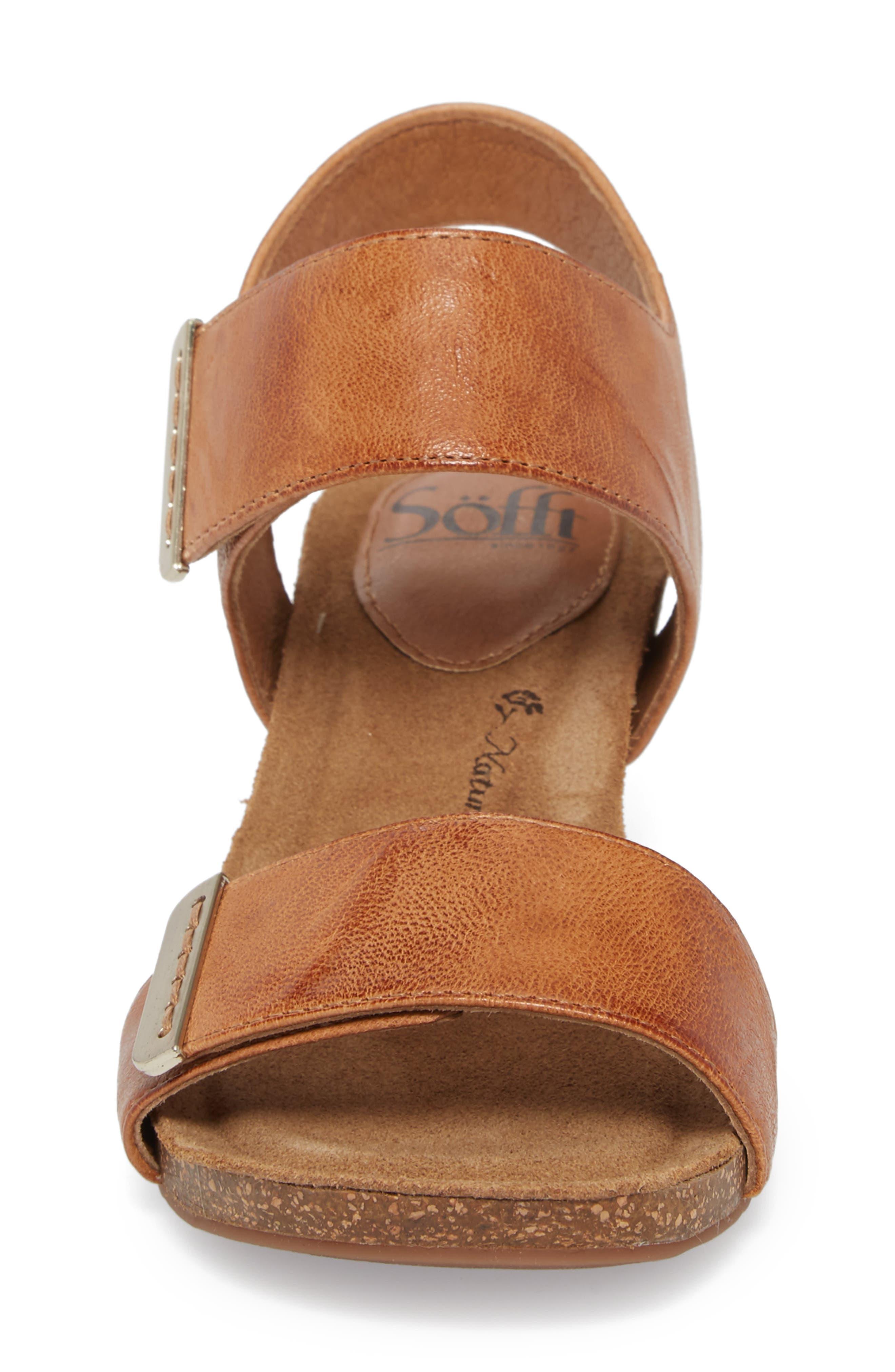Verdi Wedge Sandal,                             Alternate thumbnail 4, color,                             Luggage Leather