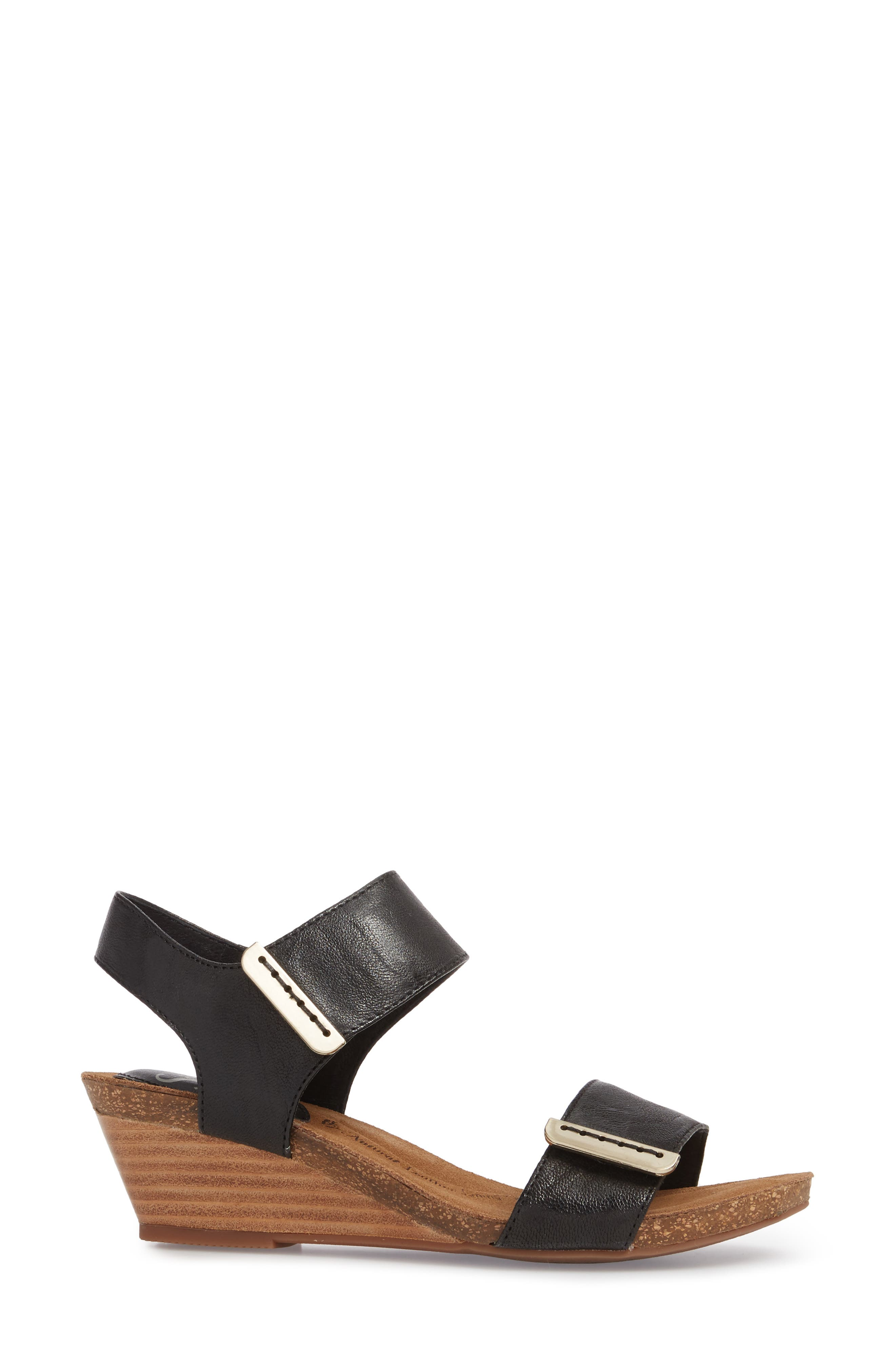 Verdi Wedge Sandal,                             Alternate thumbnail 3, color,                             Black Leather
