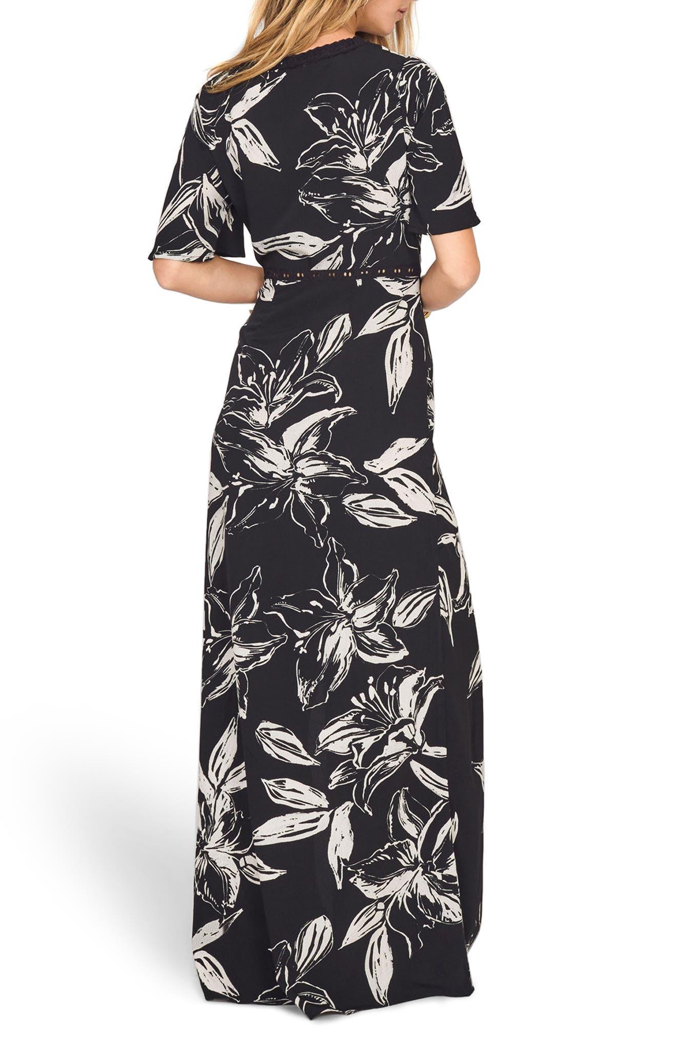 Seaside Floral Print Maxi Dress,                             Alternate thumbnail 3, color,                             Black Sands