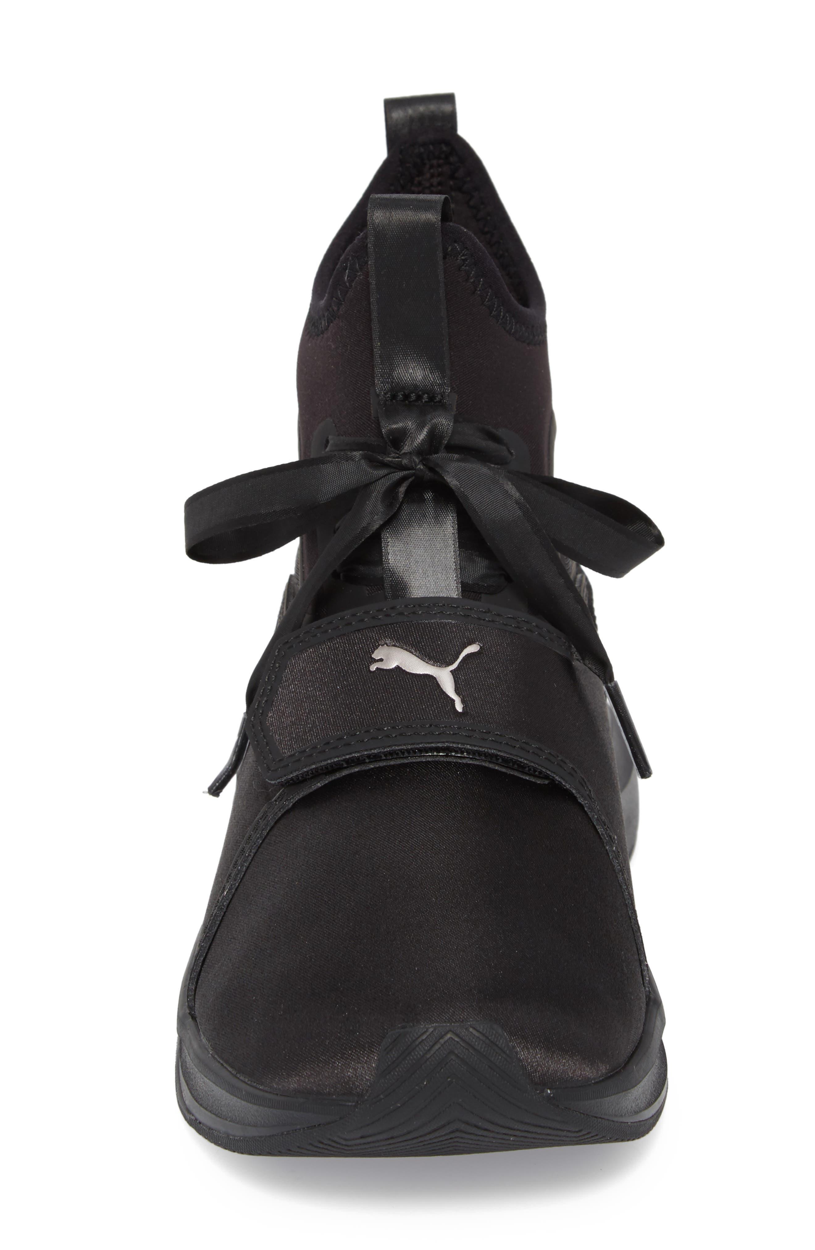 Phenom Satin EP High Top Training Shoe,                             Alternate thumbnail 4, color,                             Puma Black/ Puma Black