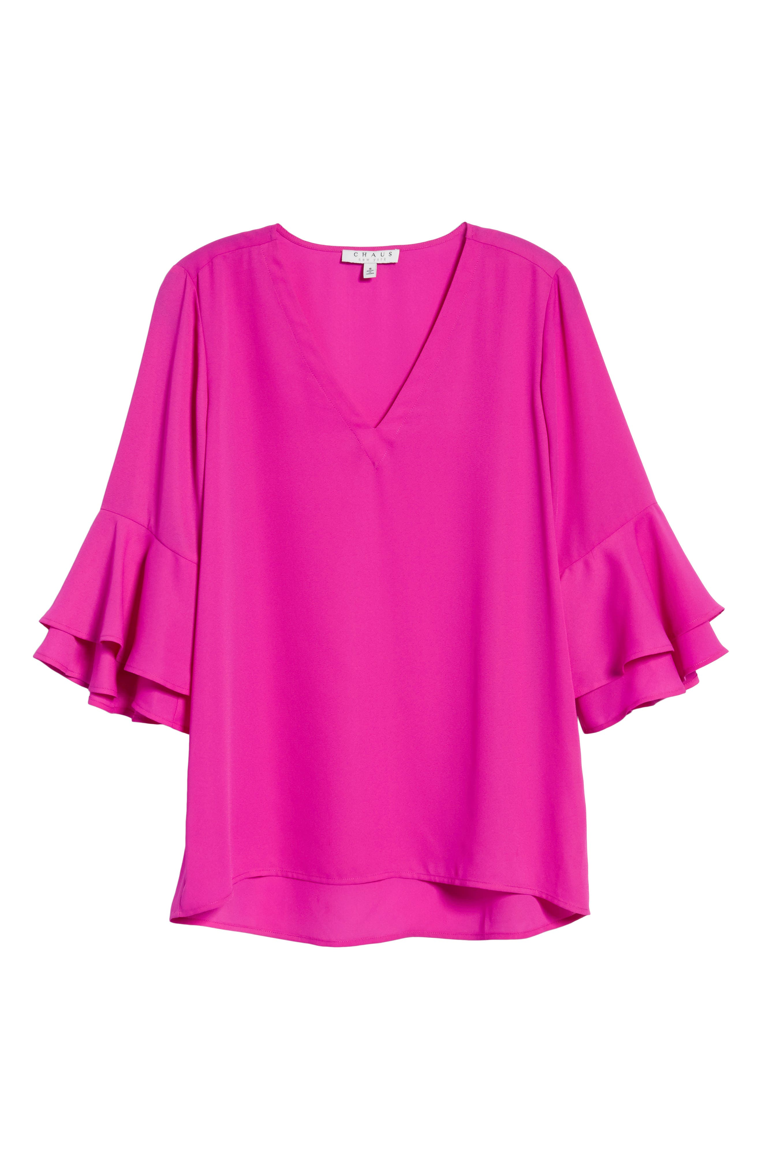 Ruffle Sleeve V-Neck Blouse,                             Alternate thumbnail 6, color,                             686-Pink Nouveau