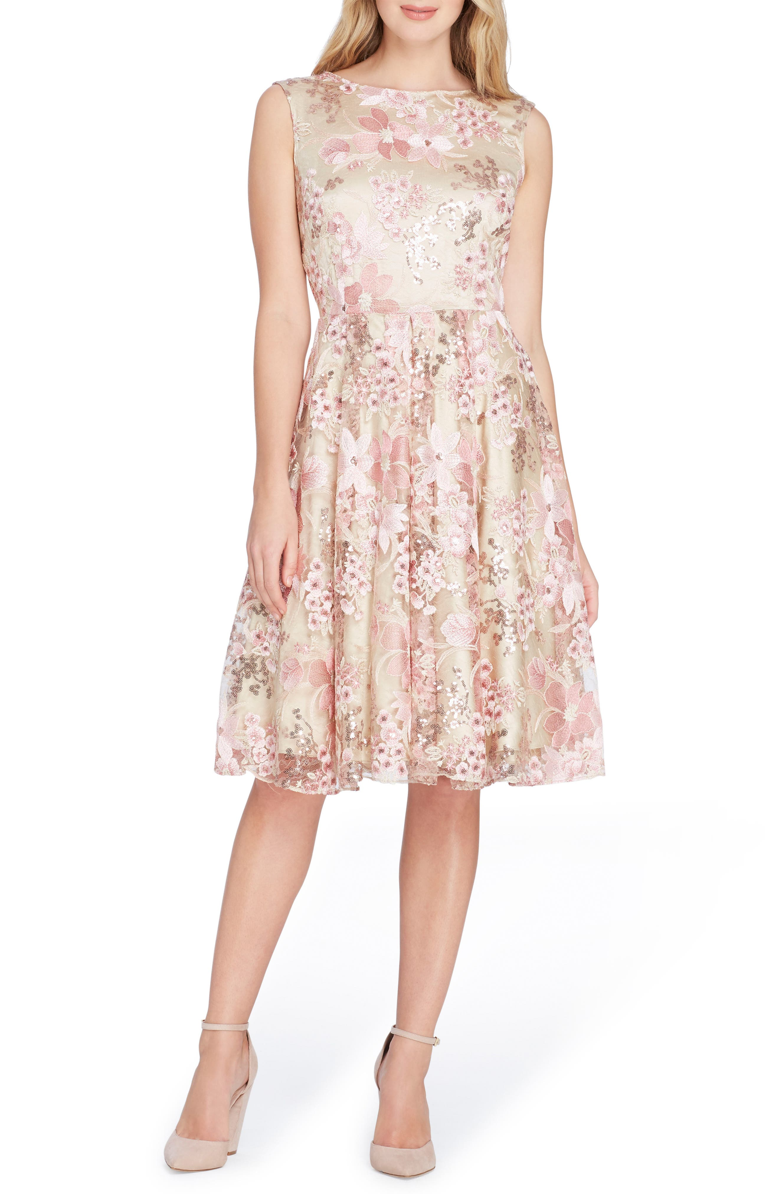 Sleeveless Embroidery Fit & Flare Dress,                             Main thumbnail 1, color,                             Nude/ Tea Rose/ Blush