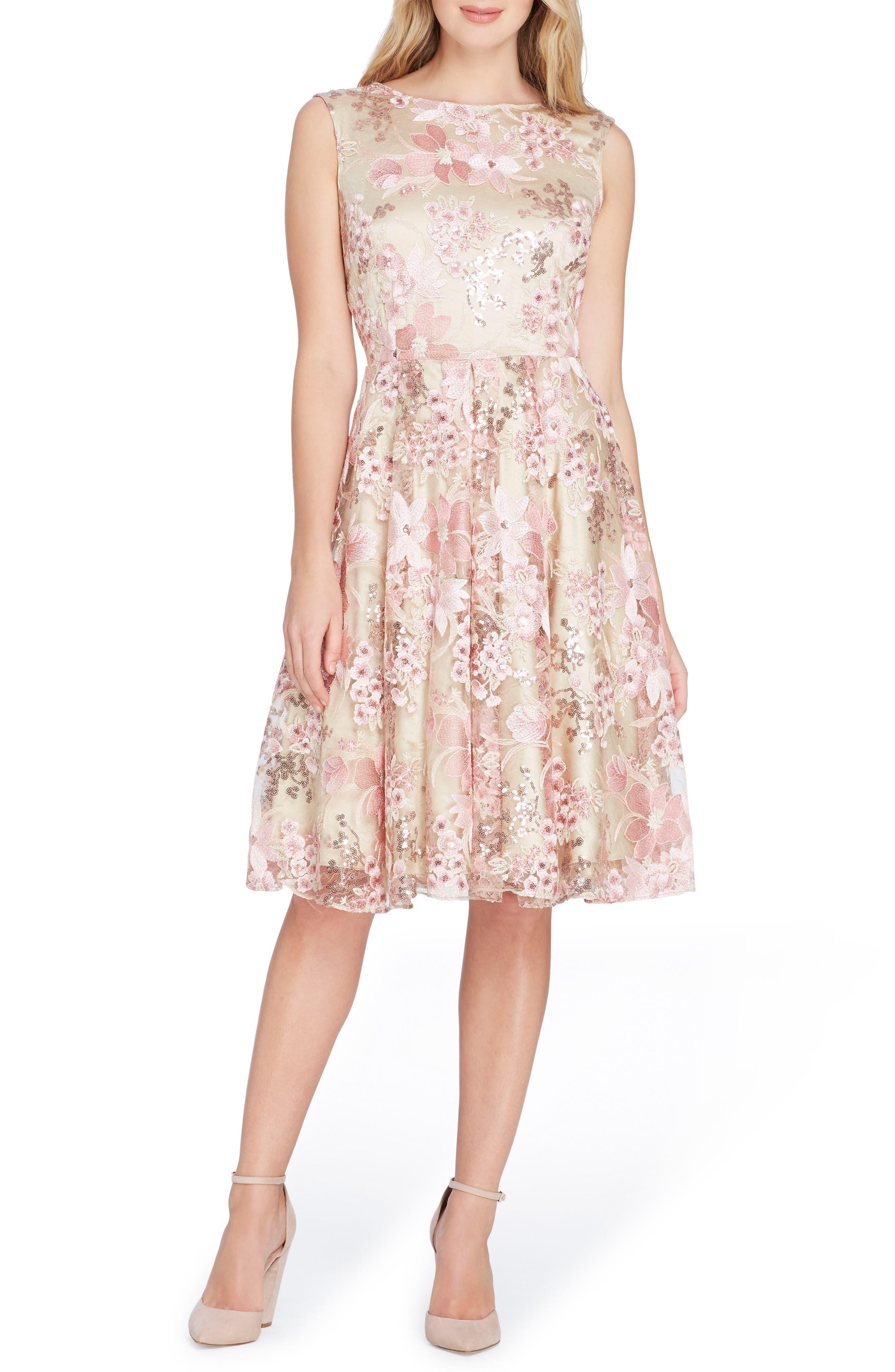 Sleeveless Embroidery Fit & Flare Dress,                         Main,                         color, Nude/ Tea Rose/ Blush