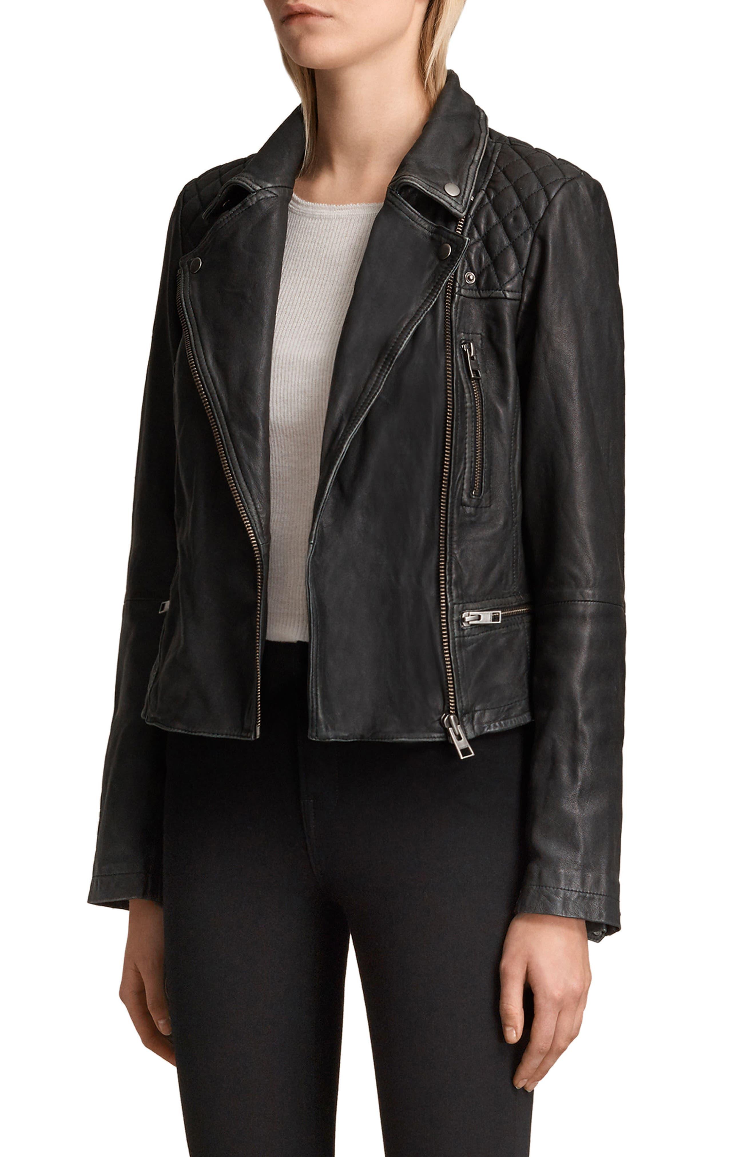 Cargo Leather Biker Jacket,                             Alternate thumbnail 3, color,                             Black/ Grey