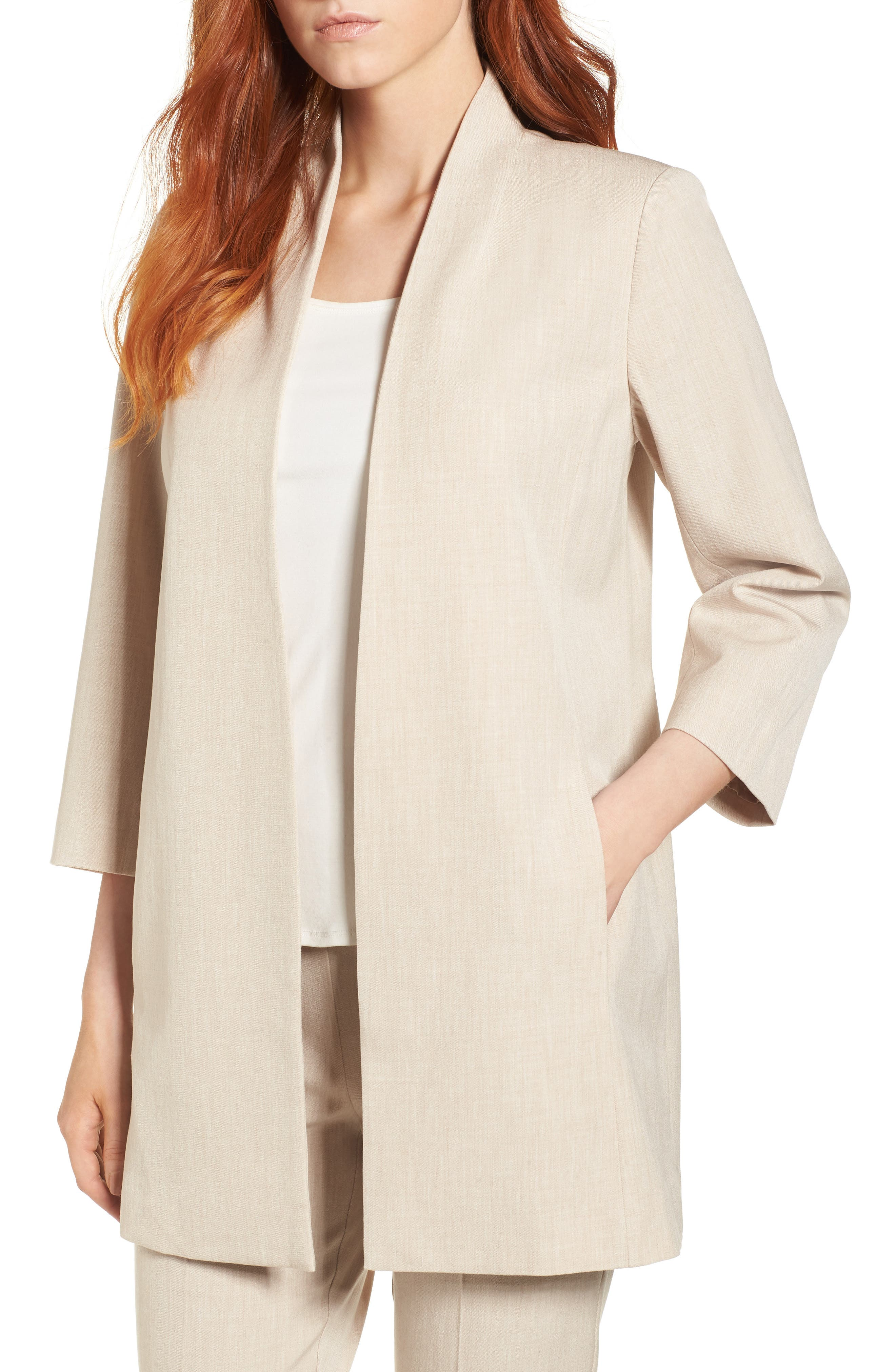 Long Open Front Jacket,                         Main,                         color, Buttercream