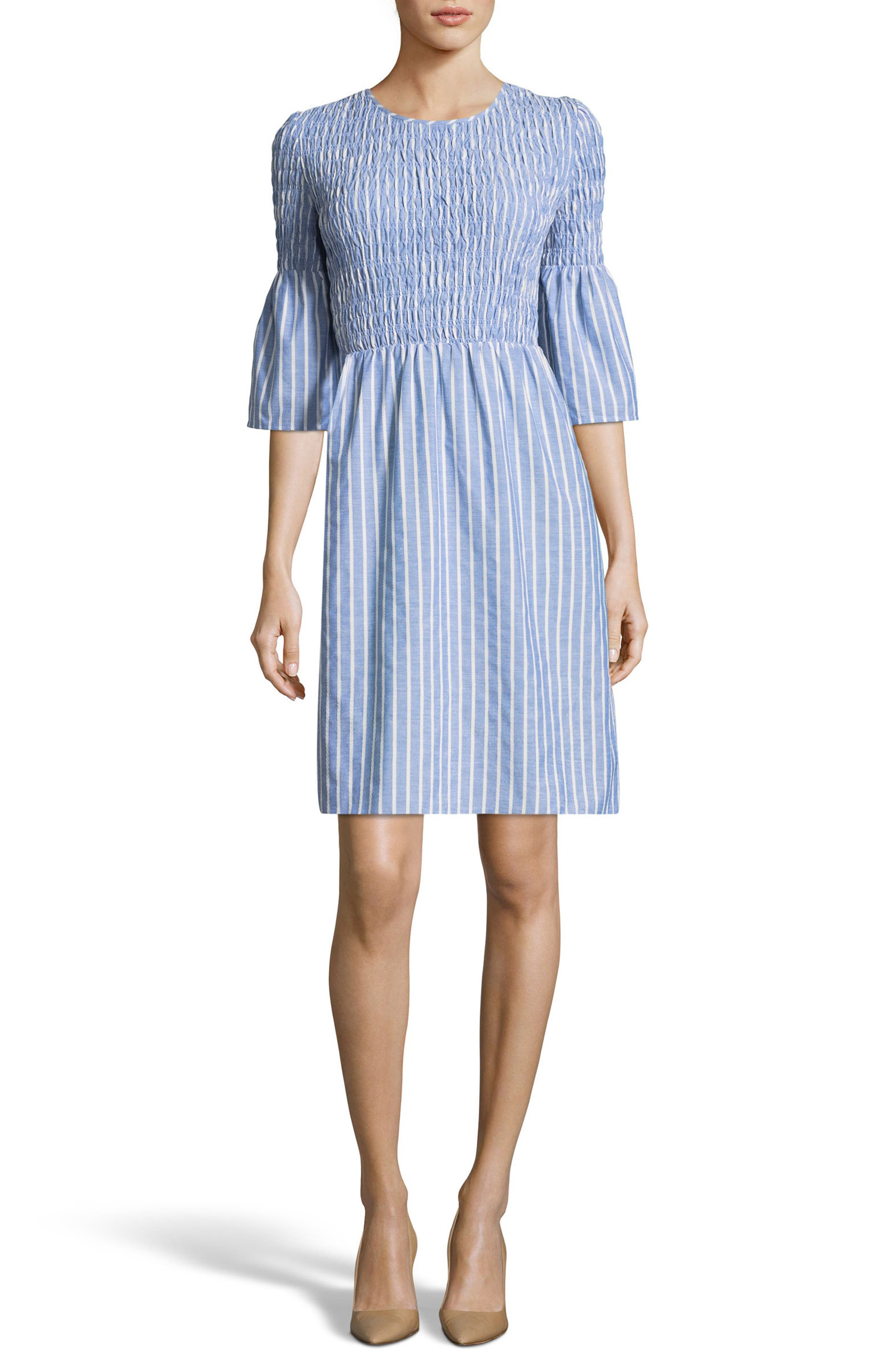Smocked Fit & Flare Dress,                             Main thumbnail 1, color,                             Blue/ Ivory