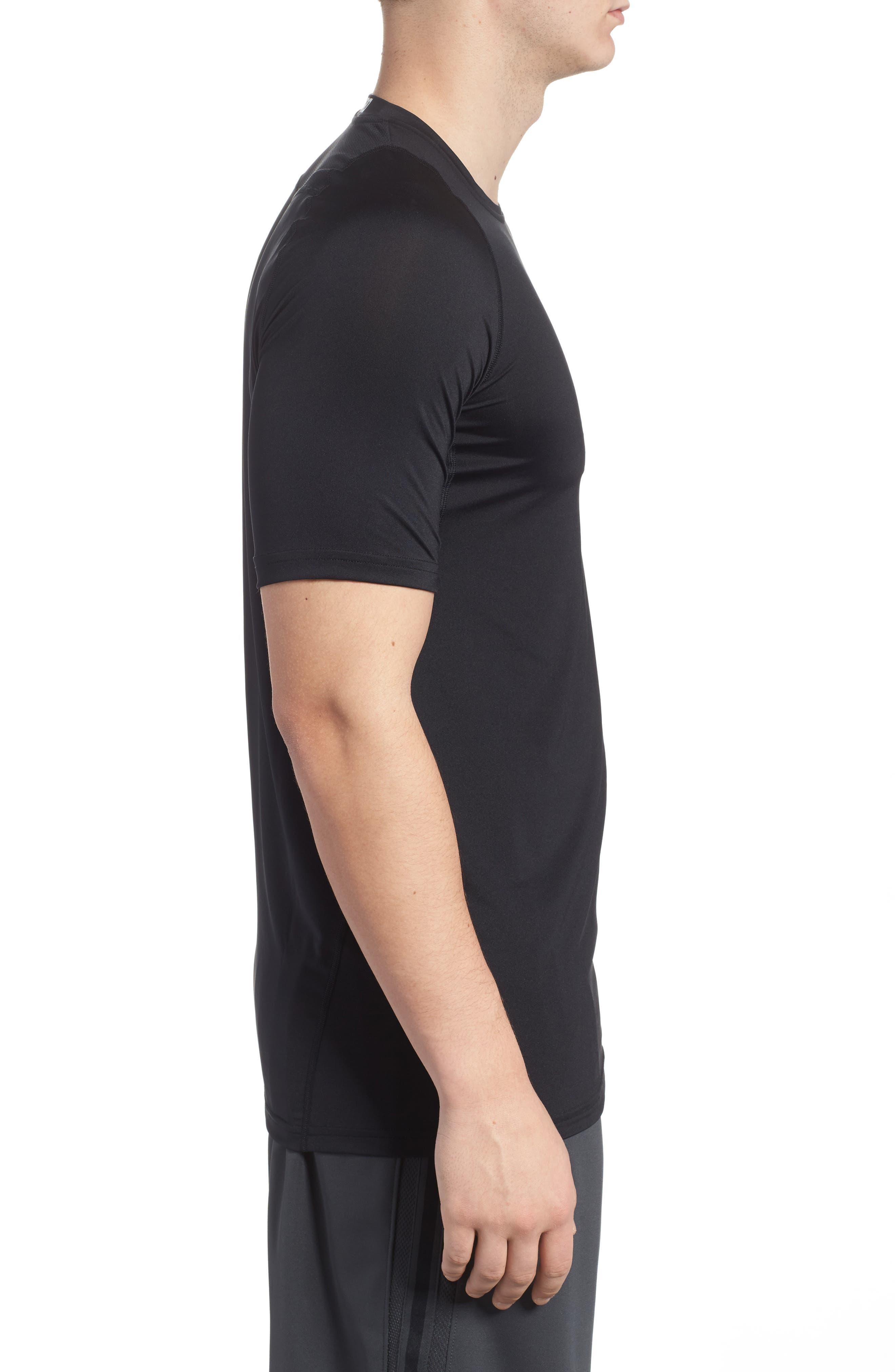 Pro Fitted T-Shirt,                             Alternate thumbnail 3, color,                             Black/White/White