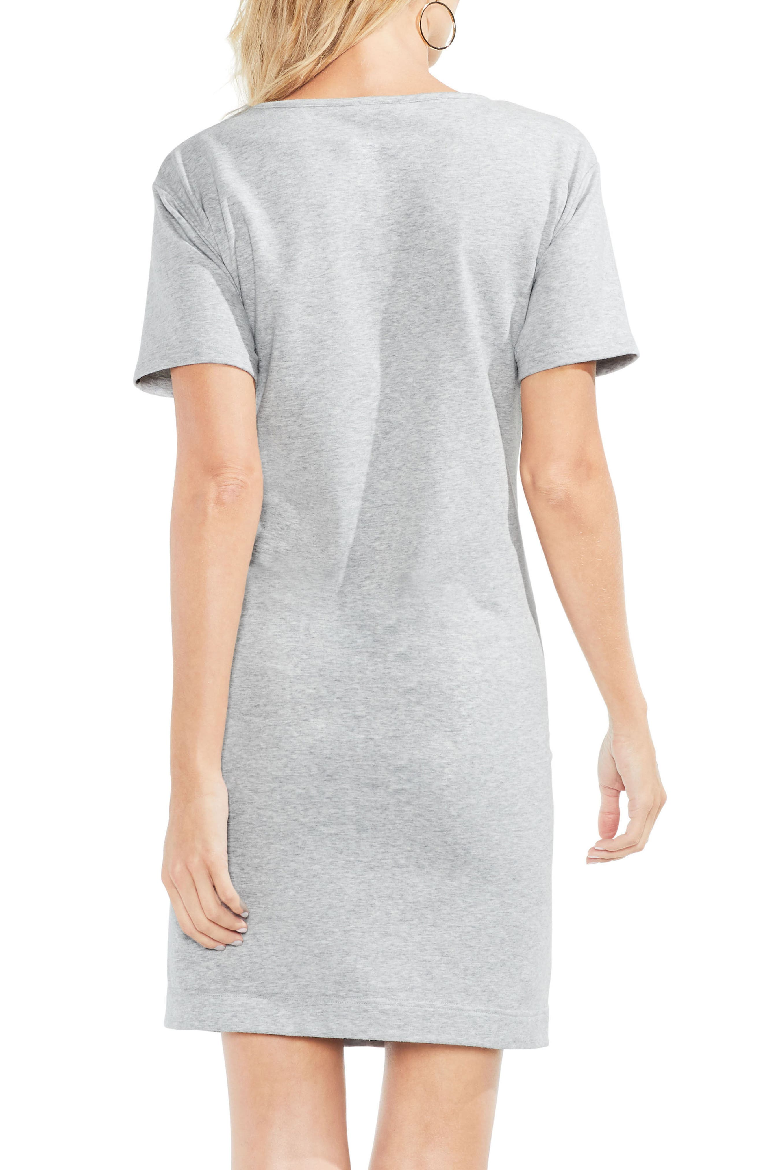 Tie Front Peached French Terry Dress,                             Alternate thumbnail 3, color,                             Grey Heather