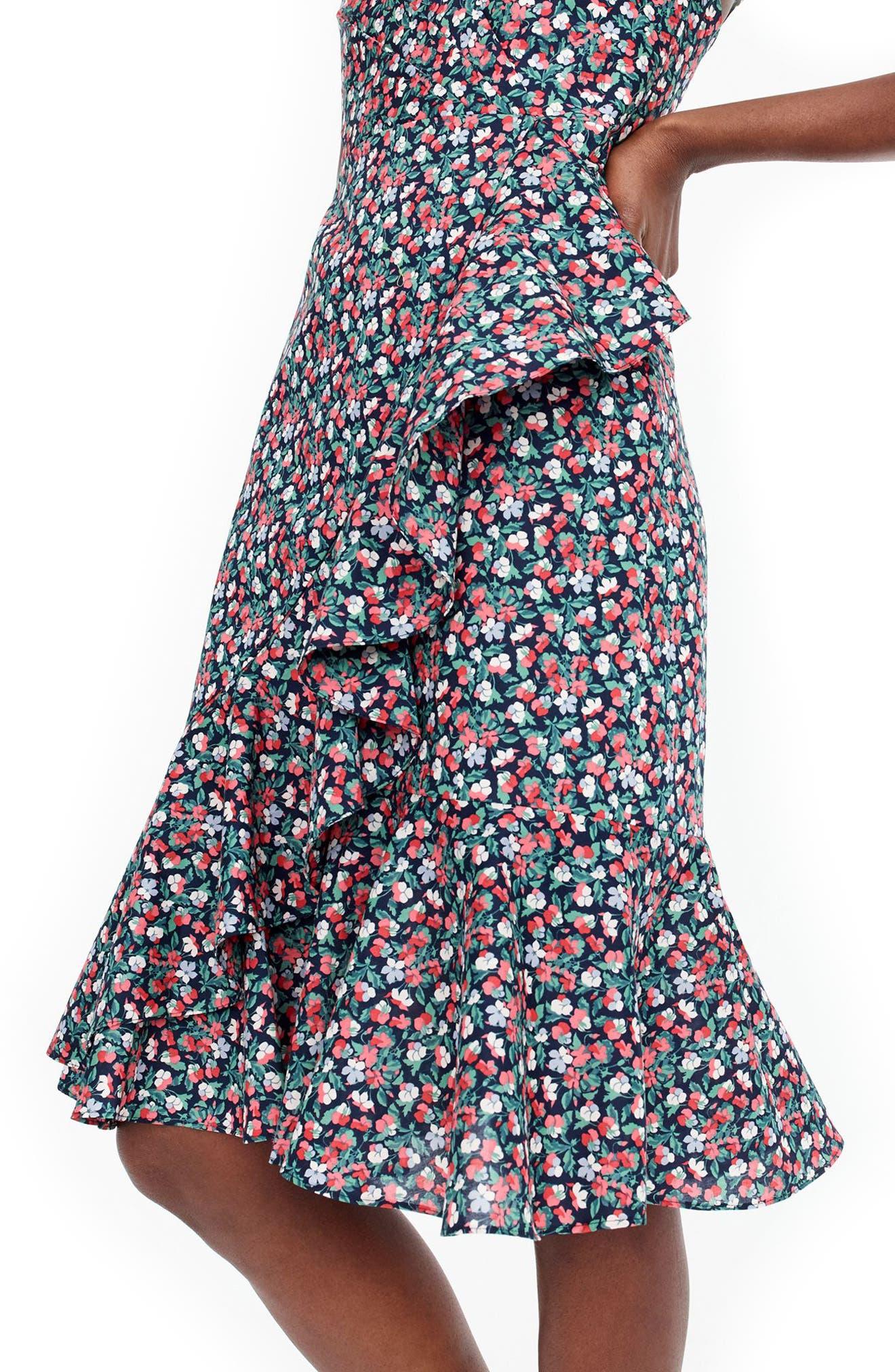 Liberty<sup>®</sup> Sarah Ruffle Dress,                             Alternate thumbnail 3, color,                             Navy Poppy
