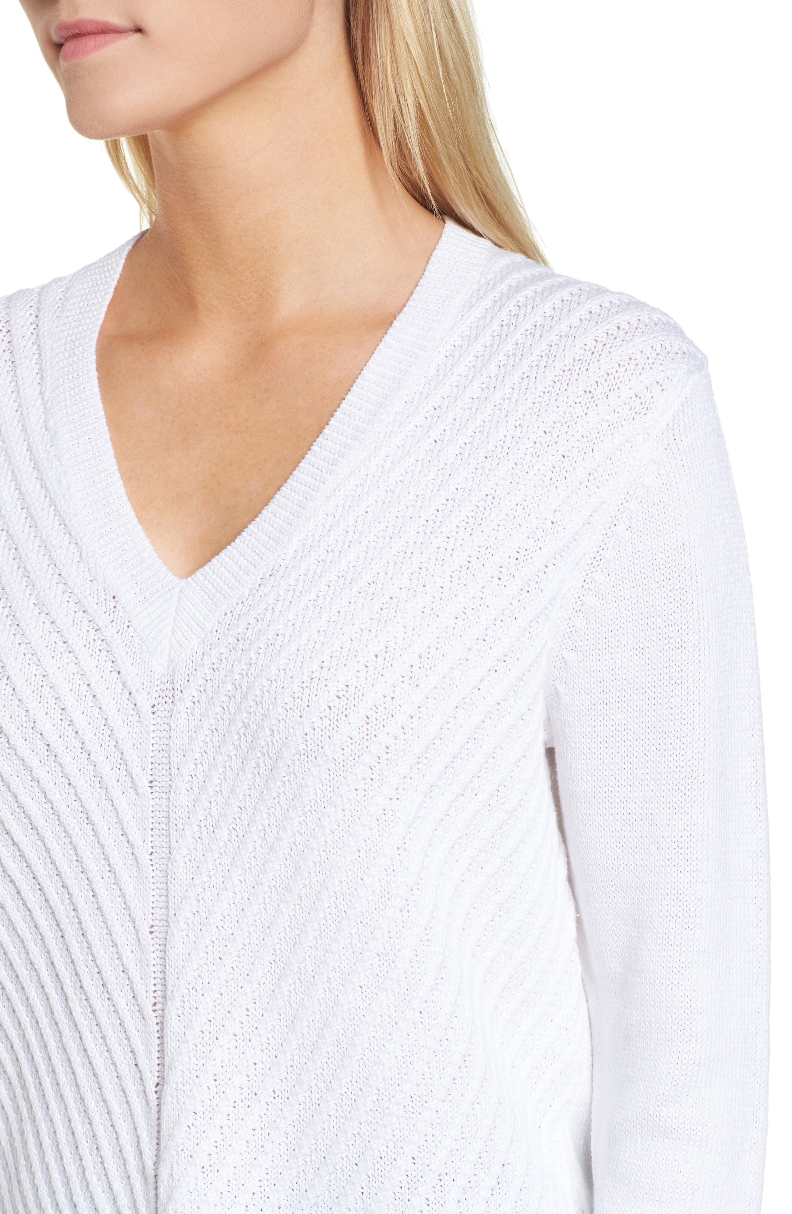 Textured Front V-Neck Sweater,                             Alternate thumbnail 4, color,                             White