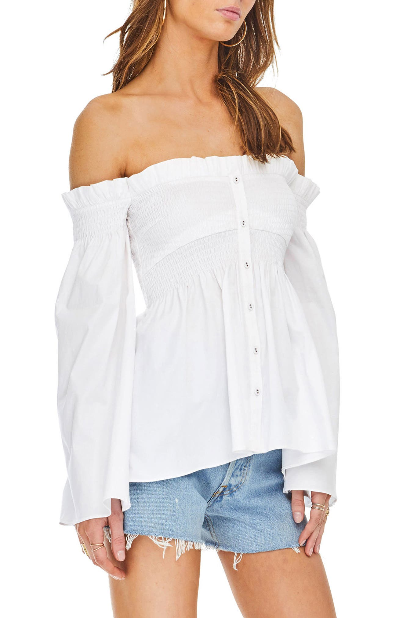 Shelby Off the Shoulder Top,                         Main,                         color, White