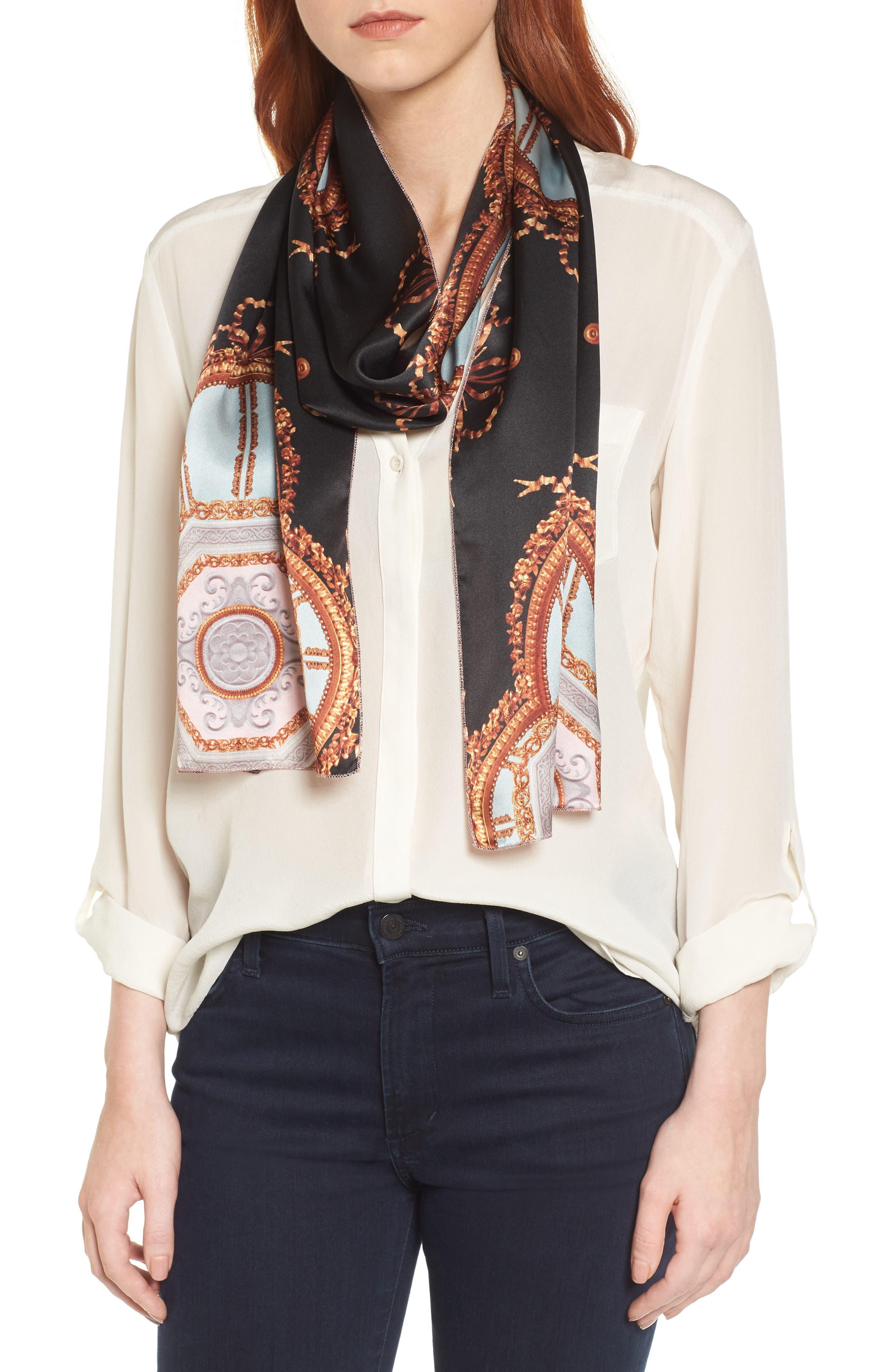 Versailles Skinny Silk Scarf,                         Main,                         color, Black