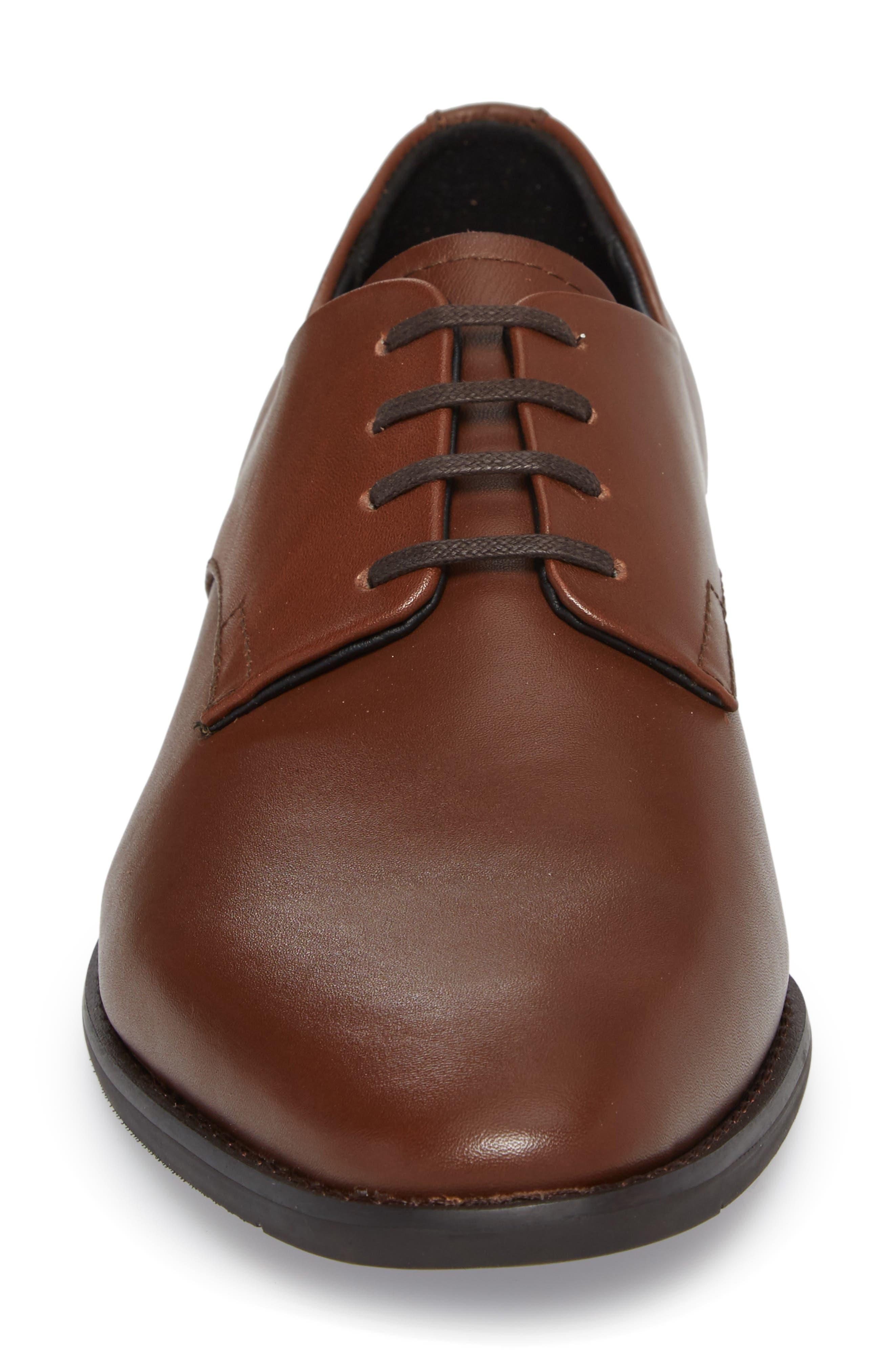 'Ramses' Plain Toe Derby,                             Alternate thumbnail 4, color,                             Tan Leather
