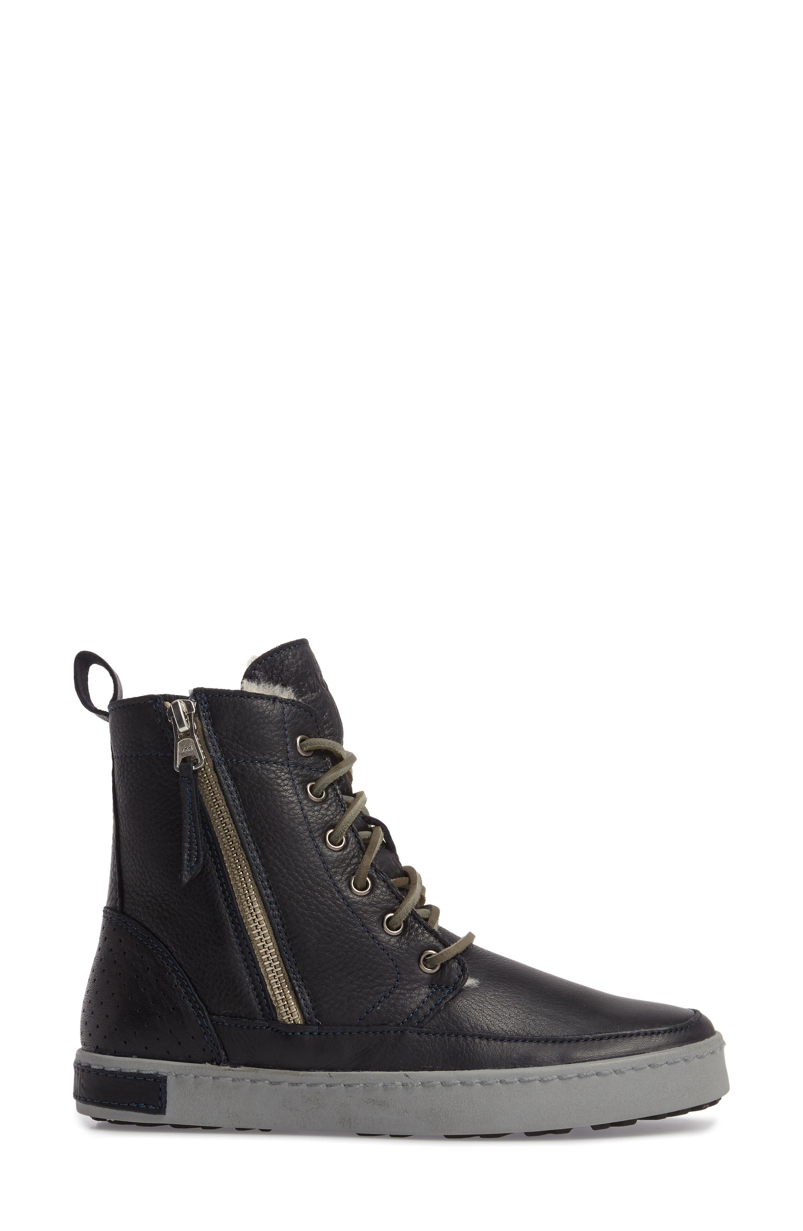'CW96' Genuine Shearling Lined Sneaker Boot,                             Alternate thumbnail 3, color,                             Dark Indigo Leather
