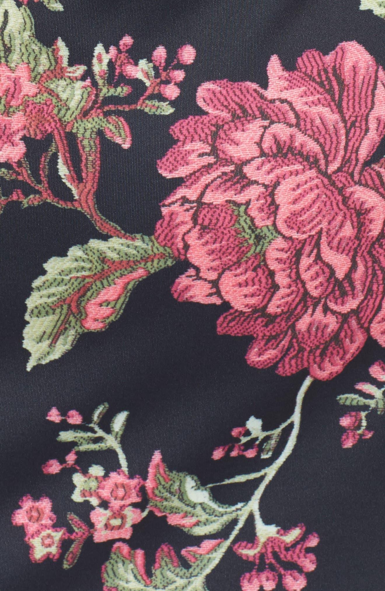 Lace & Neoprene Bell Sleeve Dress,                             Alternate thumbnail 5, color,                             Navy