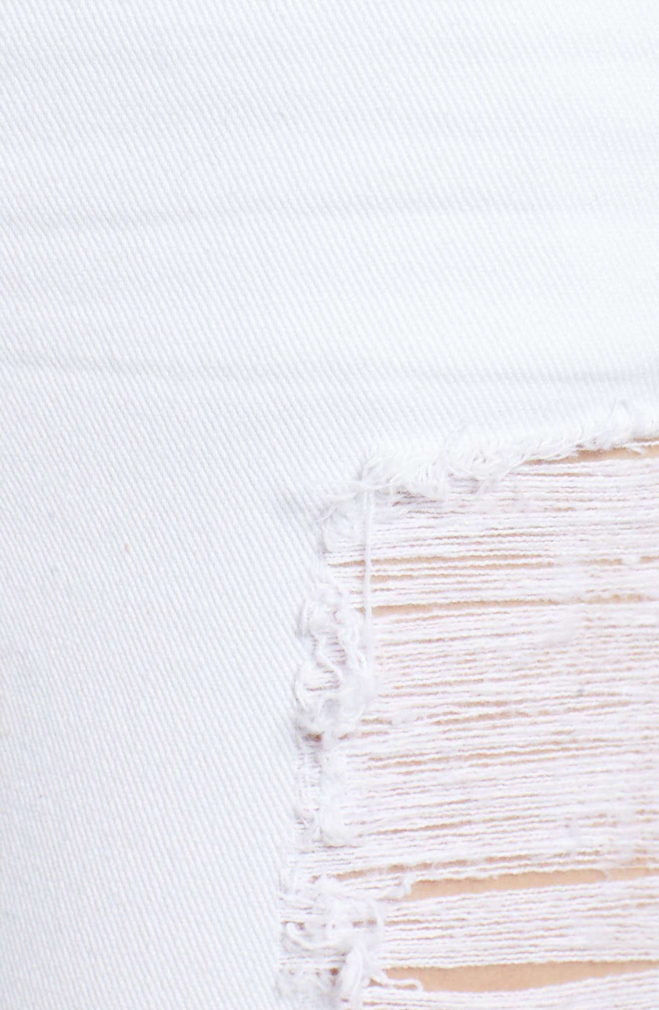 Emma Distressed Skinny Jeans,                             Alternate thumbnail 6, color,                             Optic White
