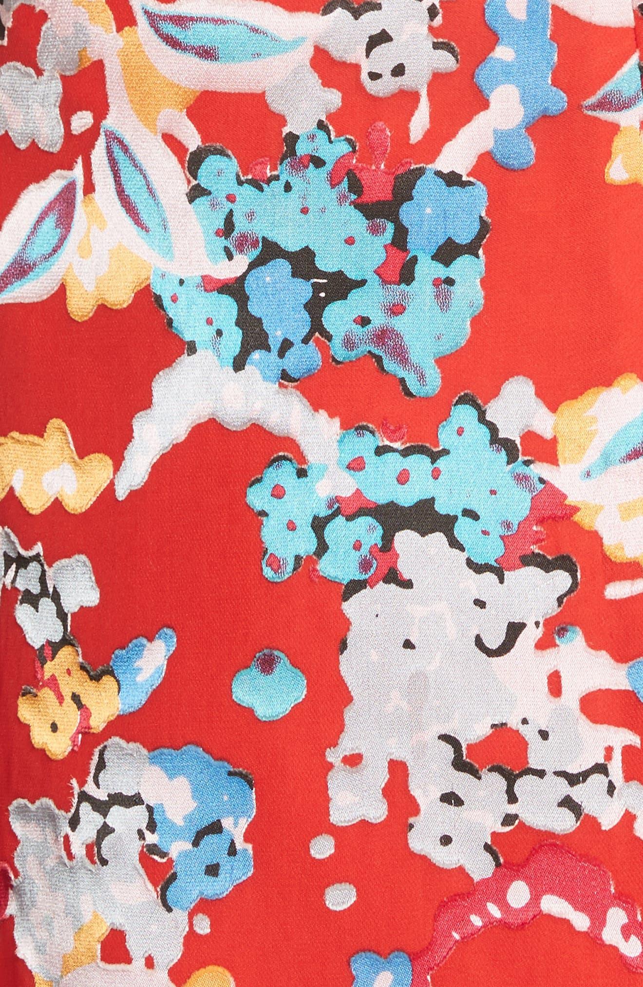 Cece Floral Print Ruffle Trim Dress,                             Alternate thumbnail 5, color,                             Coral Begonia