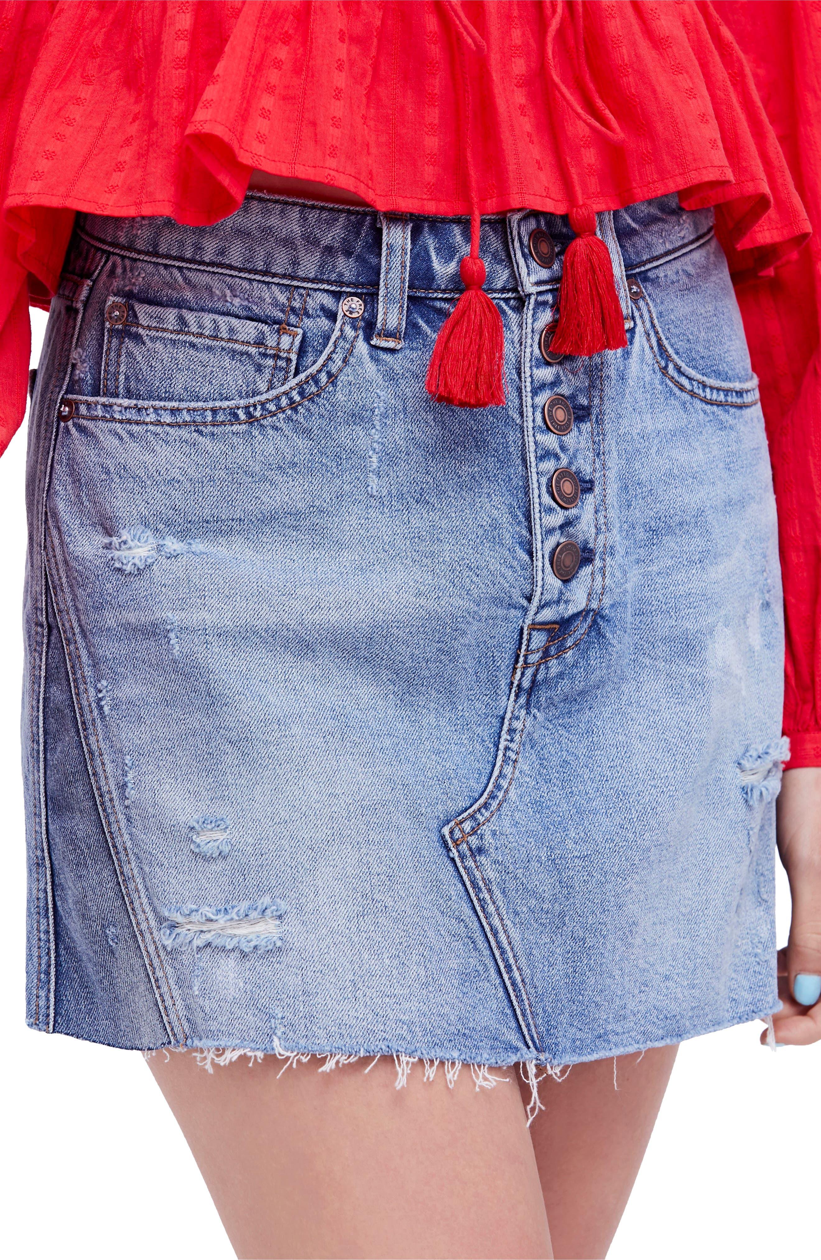 A-Line Denim Skirt,                         Main,                         color, Blue