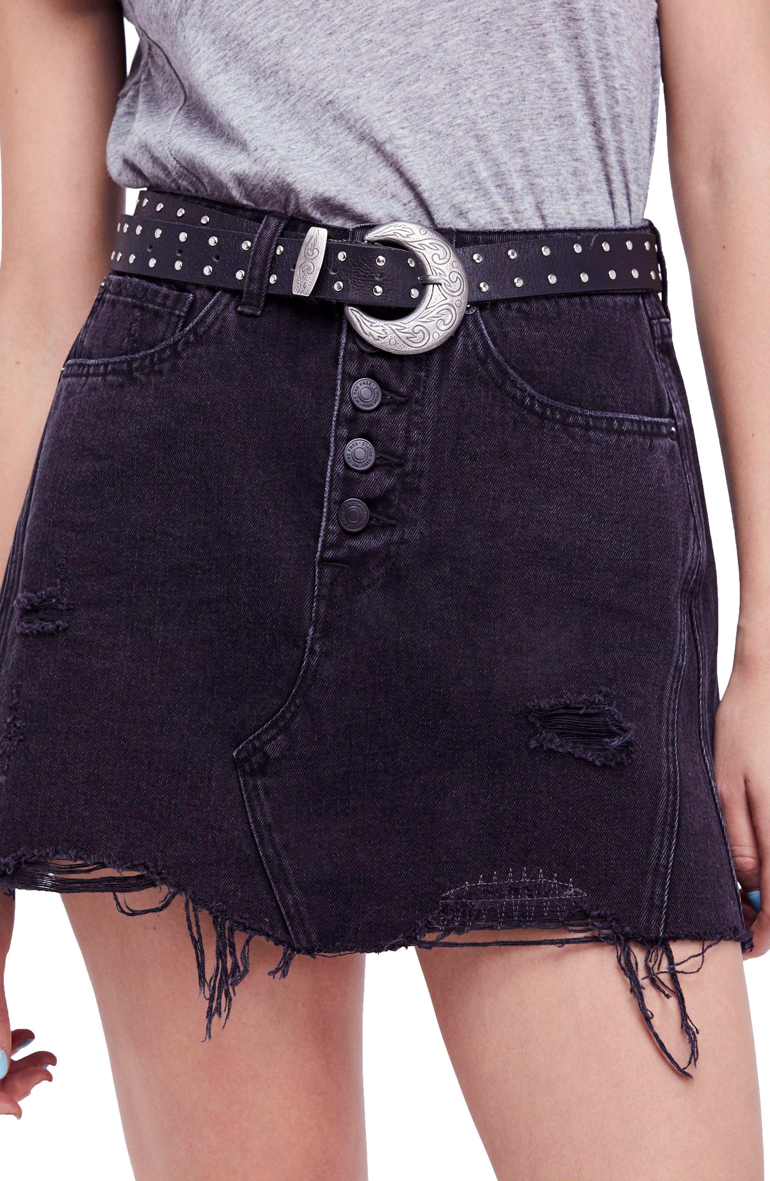 Denim A-Line Skirt,                             Main thumbnail 1, color,                             Black