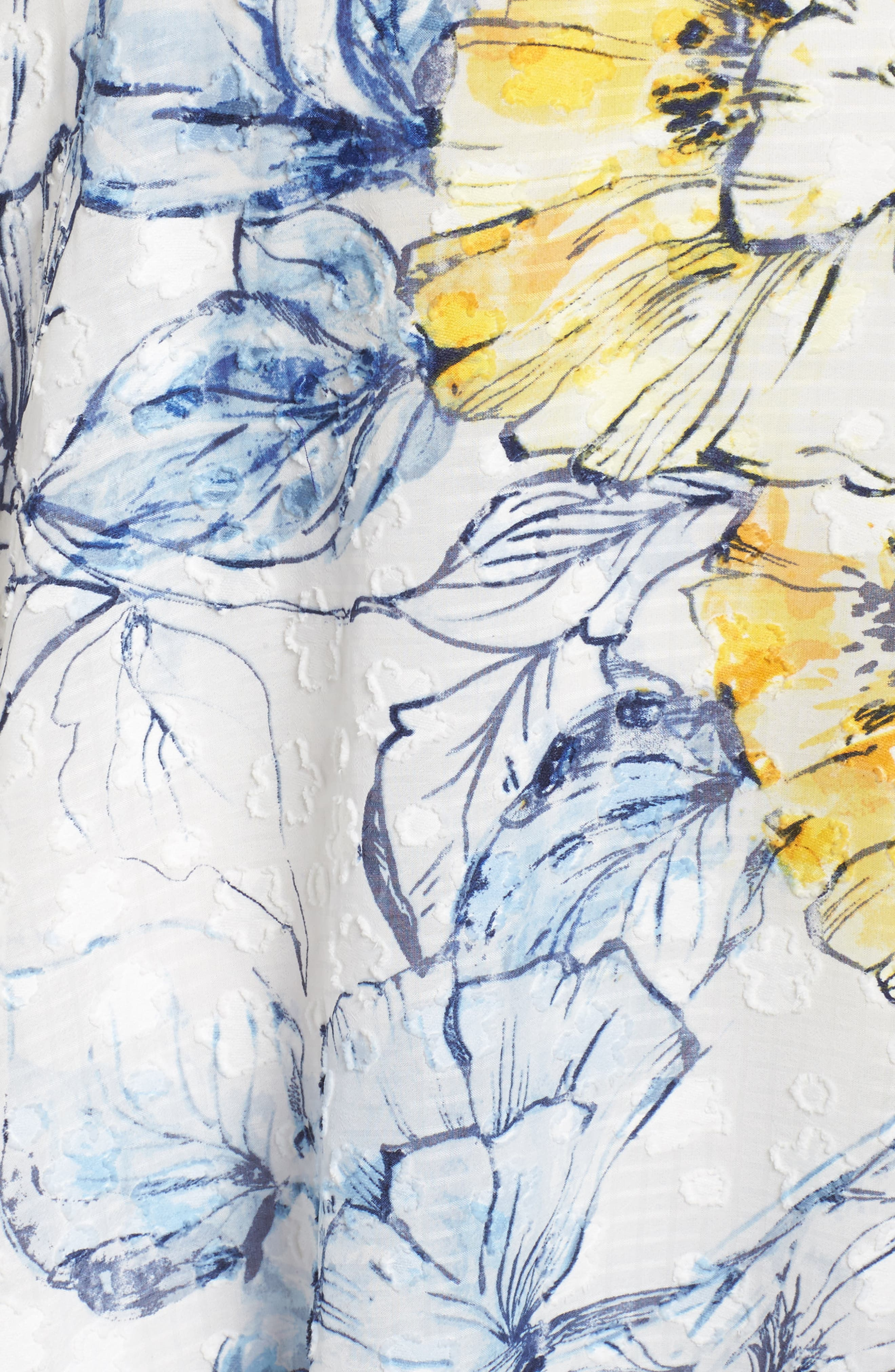 Floral Print High/Low Midi Dress,                             Alternate thumbnail 5, color,                             Denim/ Sun