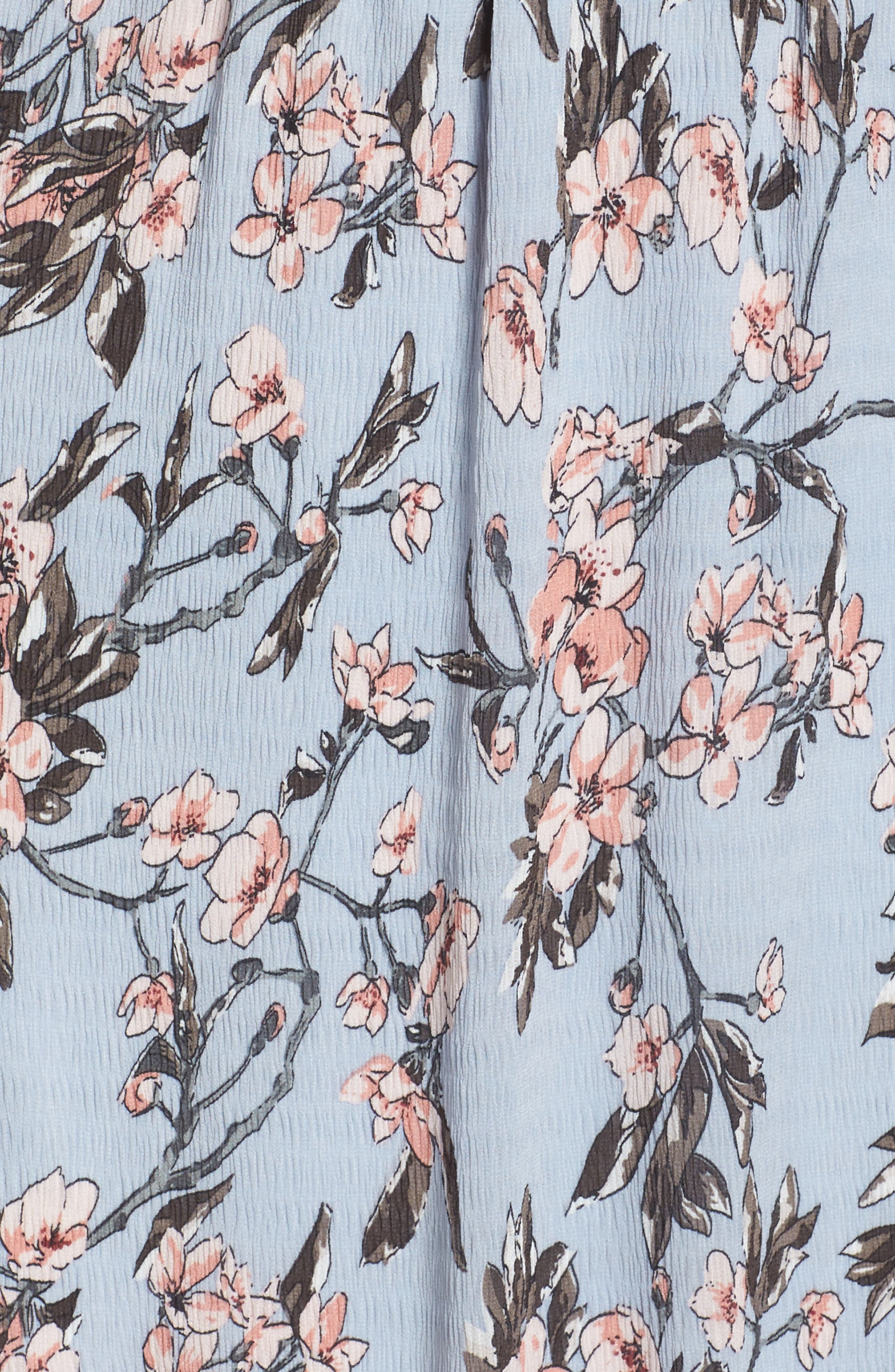 Off the Shoulder Midi Dress,                             Alternate thumbnail 6, color,                             Light Blue Sakura Floral