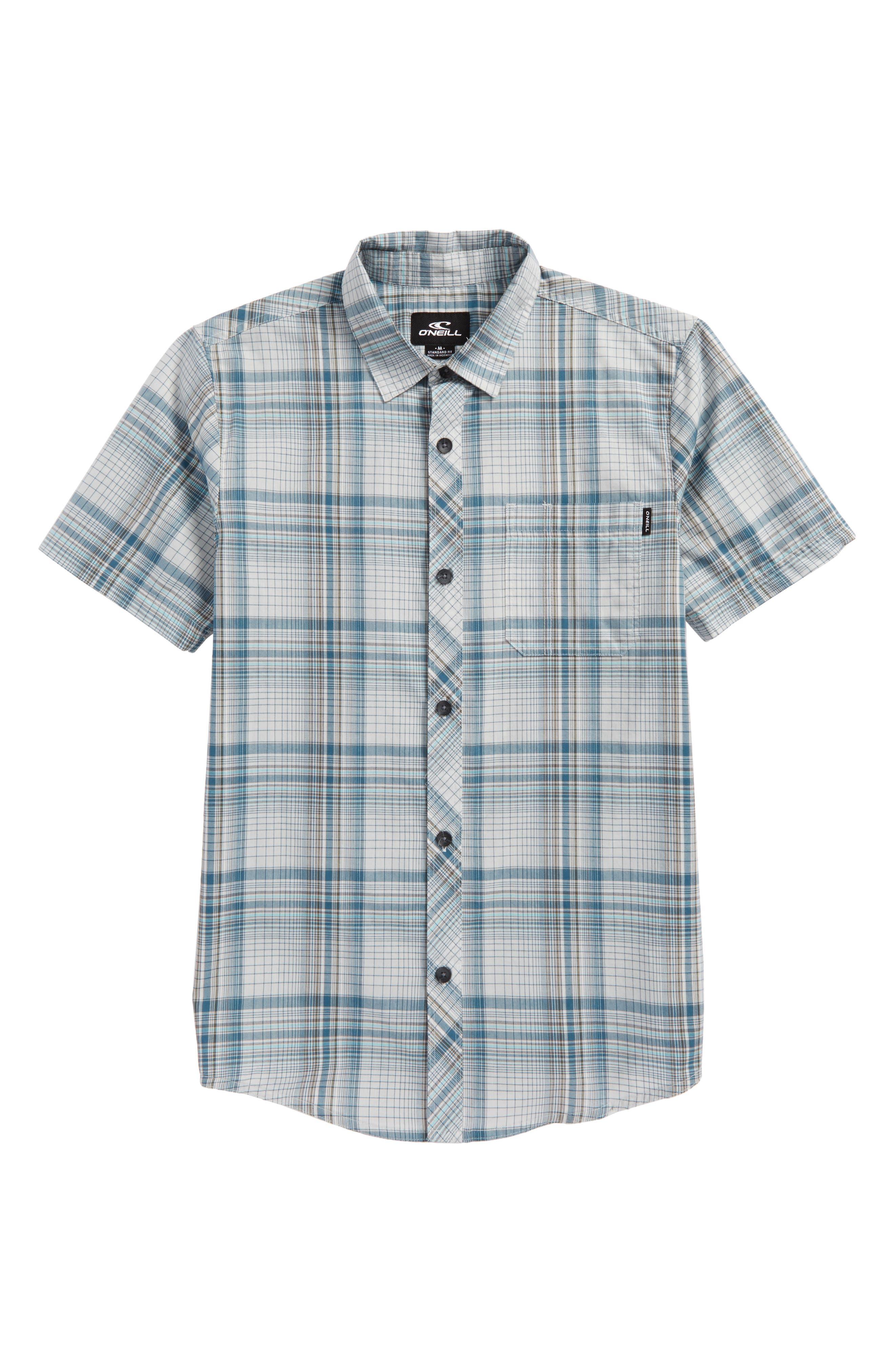 Sturghill Plaid Woven Shirt,                         Main,                         color, Fog