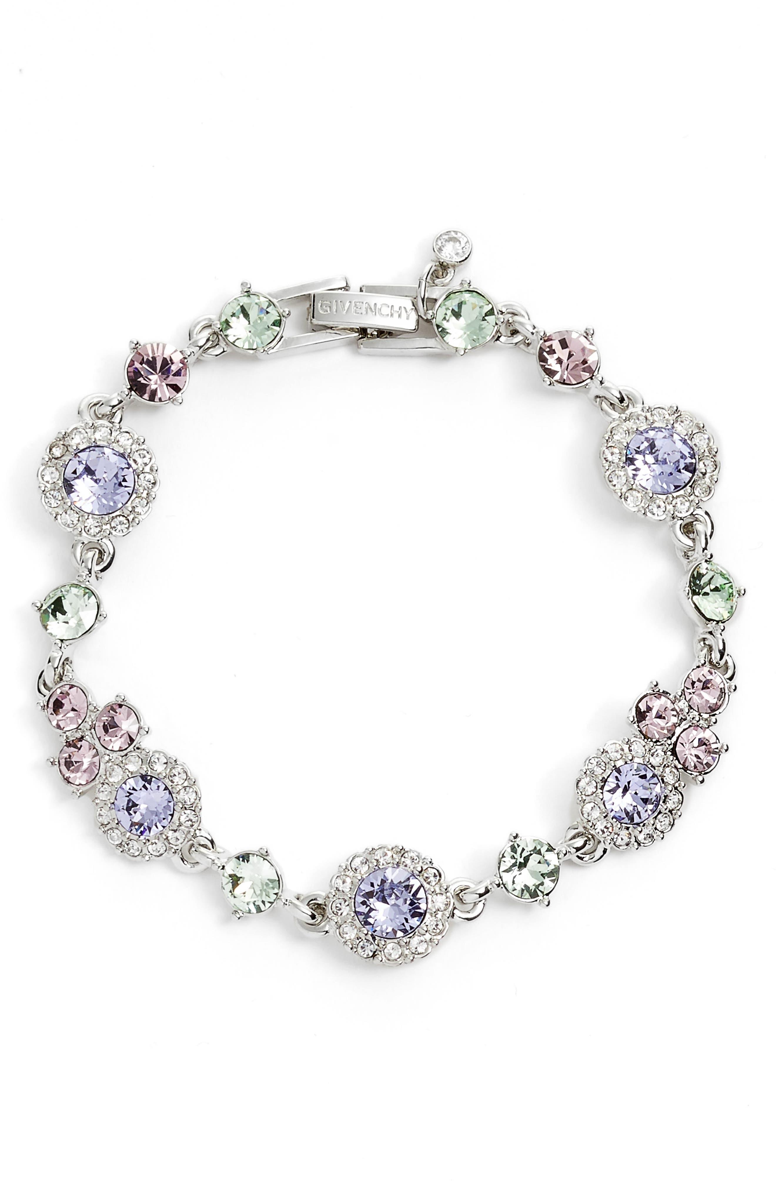 Pastel Crystal Bracelet,                             Main thumbnail 1, color,                             Rhodium/ Pastel Multi