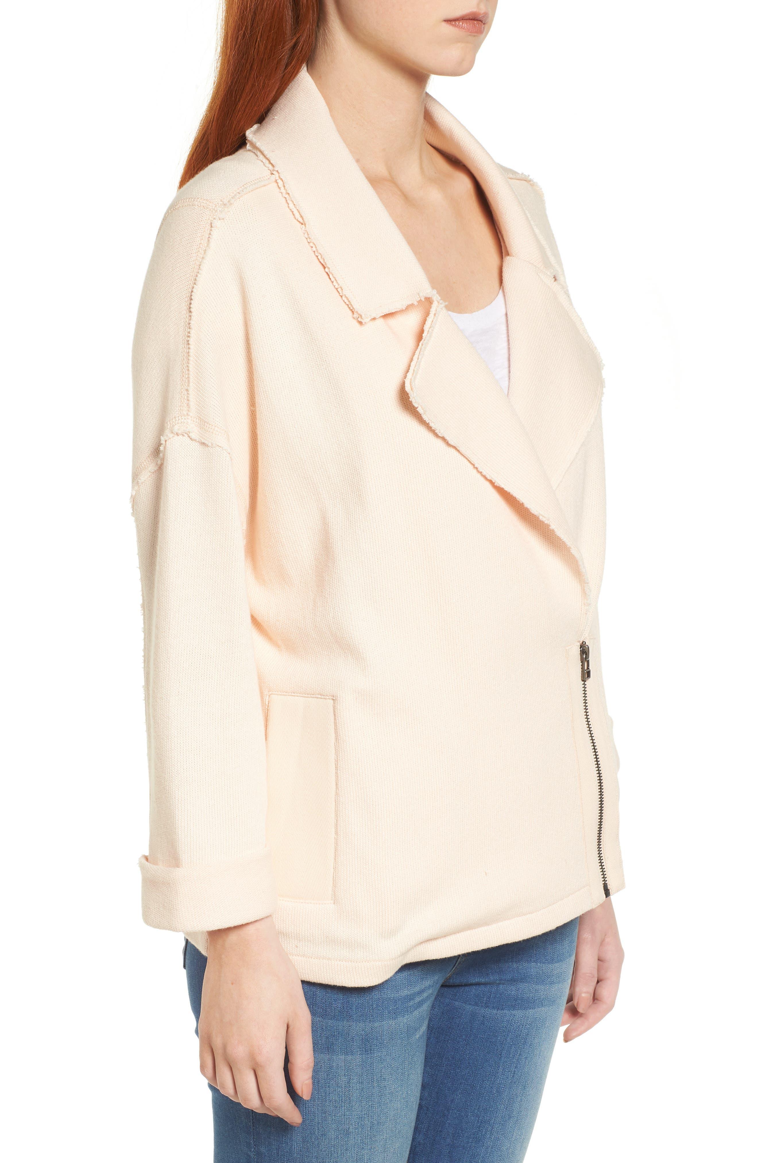 Knit Moto Jacket,                             Alternate thumbnail 3, color,                             Beige Linen