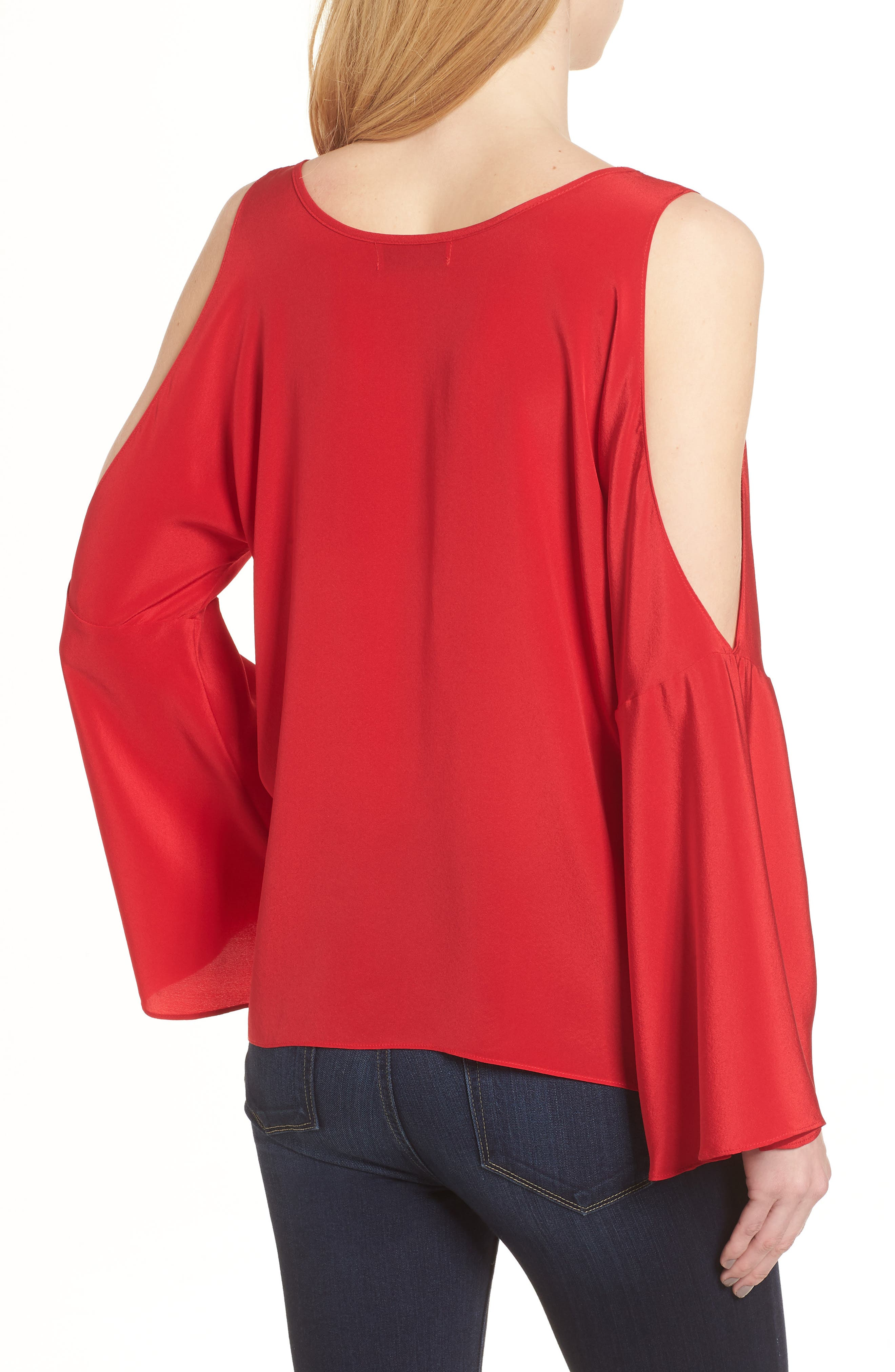 Bonsai Cold Shoulder Silk Top,                             Alternate thumbnail 2, color,                             Red