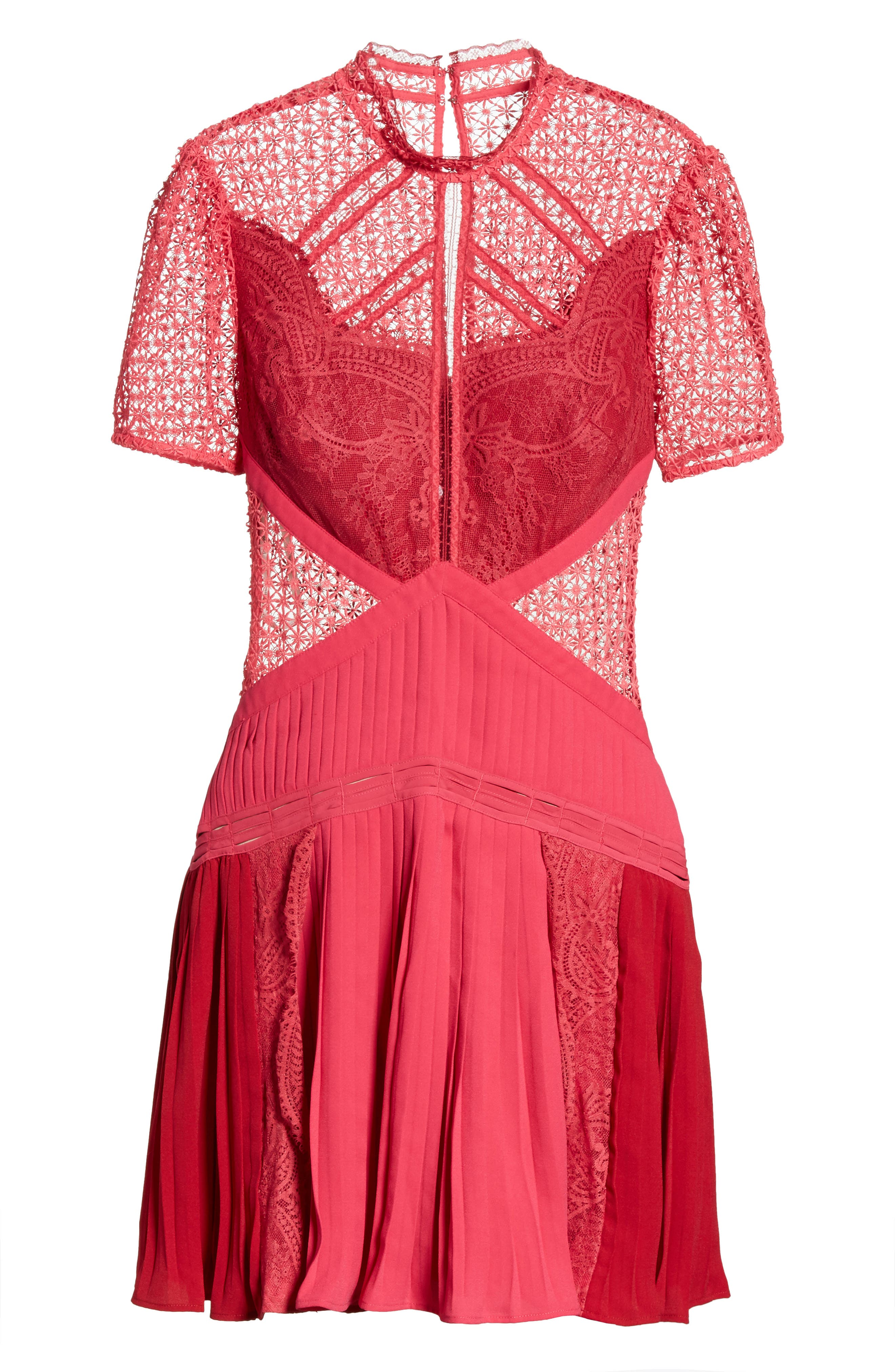 Paneled Lace Dress,                             Alternate thumbnail 6, color,                             Rasberry Red