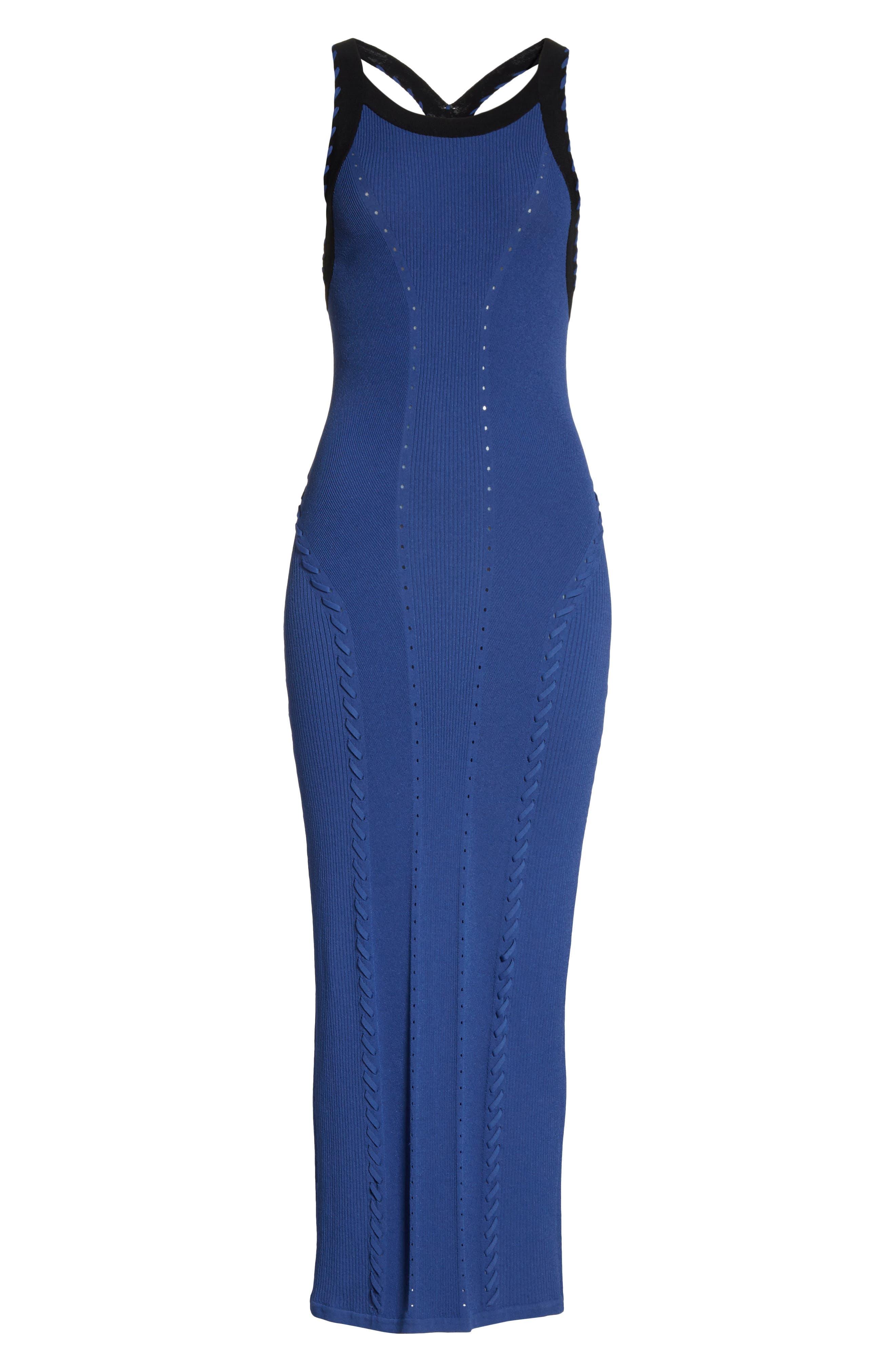 Brandy Whipstitch Detail Midi Dress,                             Alternate thumbnail 6, color,                             Blue