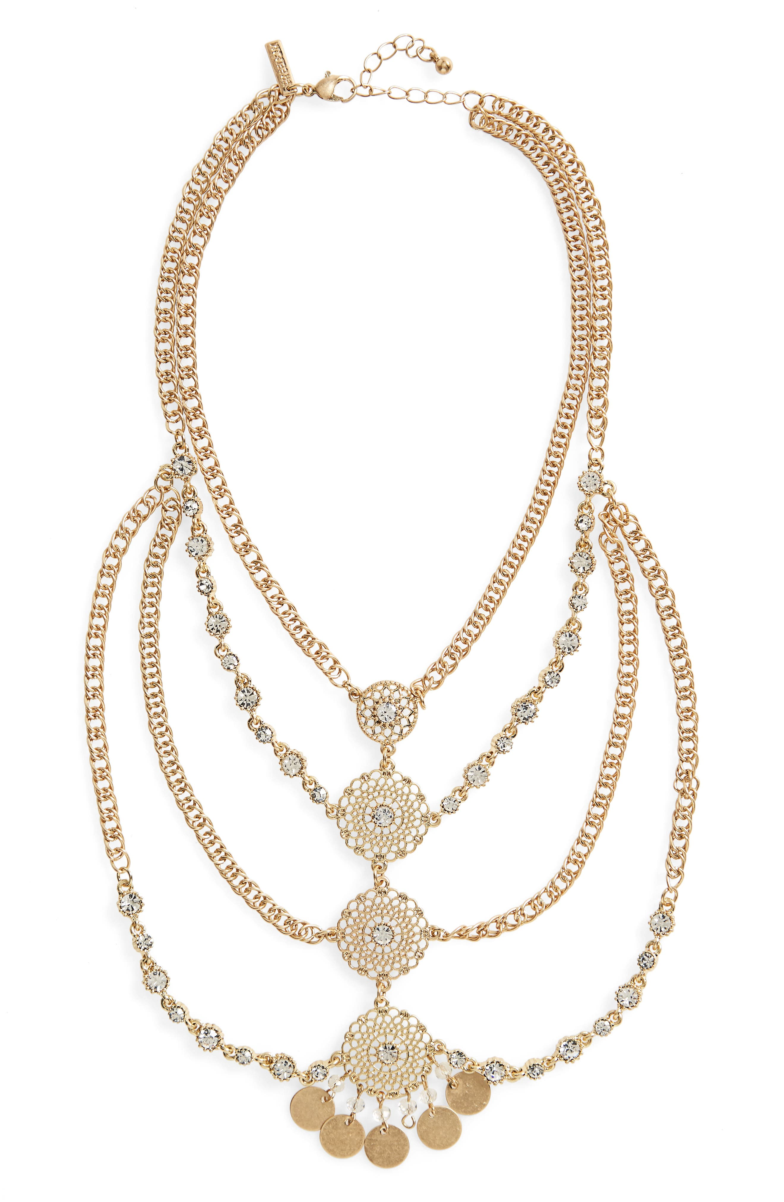 Topshop Layered Disk Sparkle Necklace