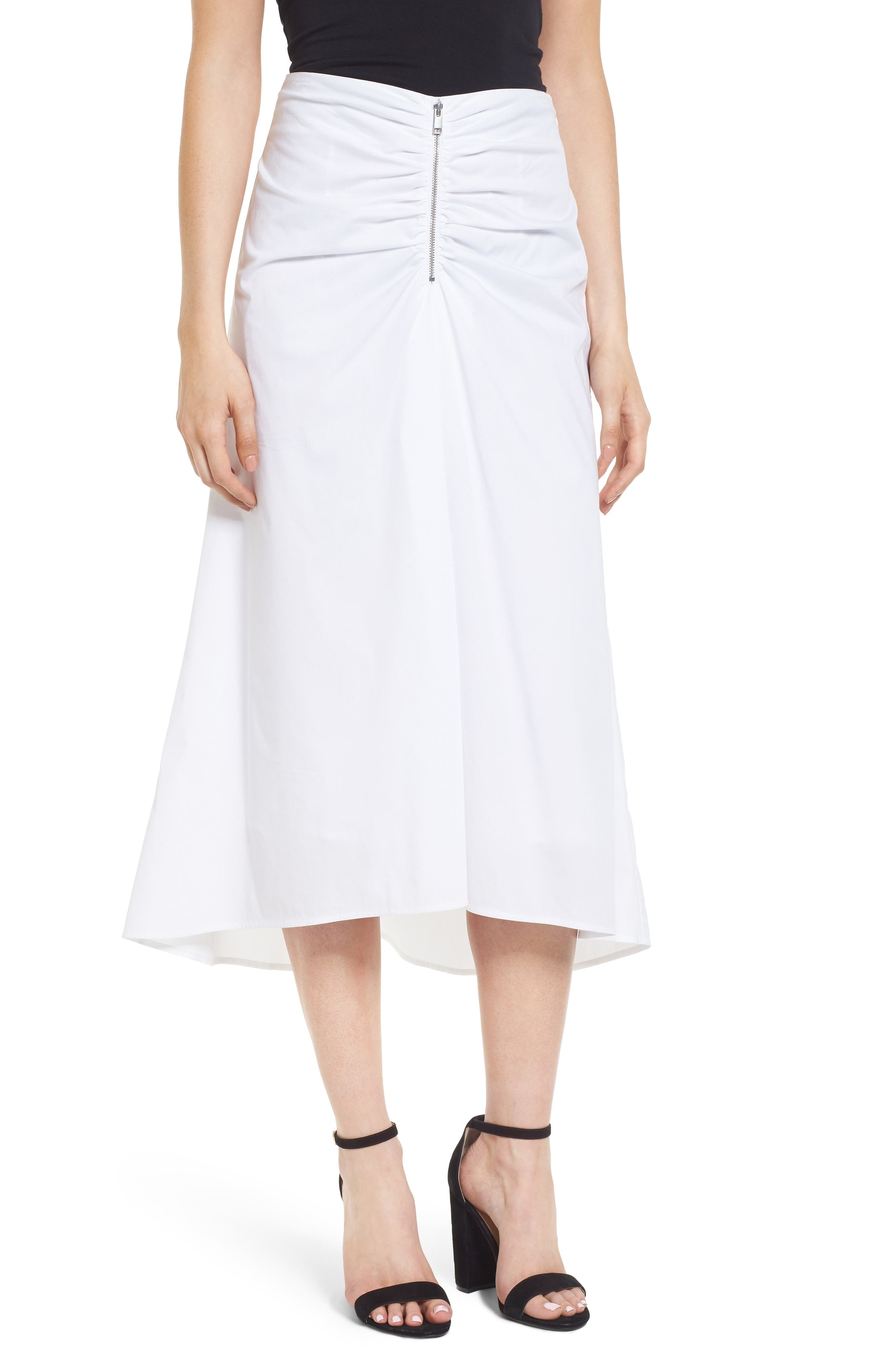 Ruched Front Midi Skirt,                             Main thumbnail 1, color,                             White
