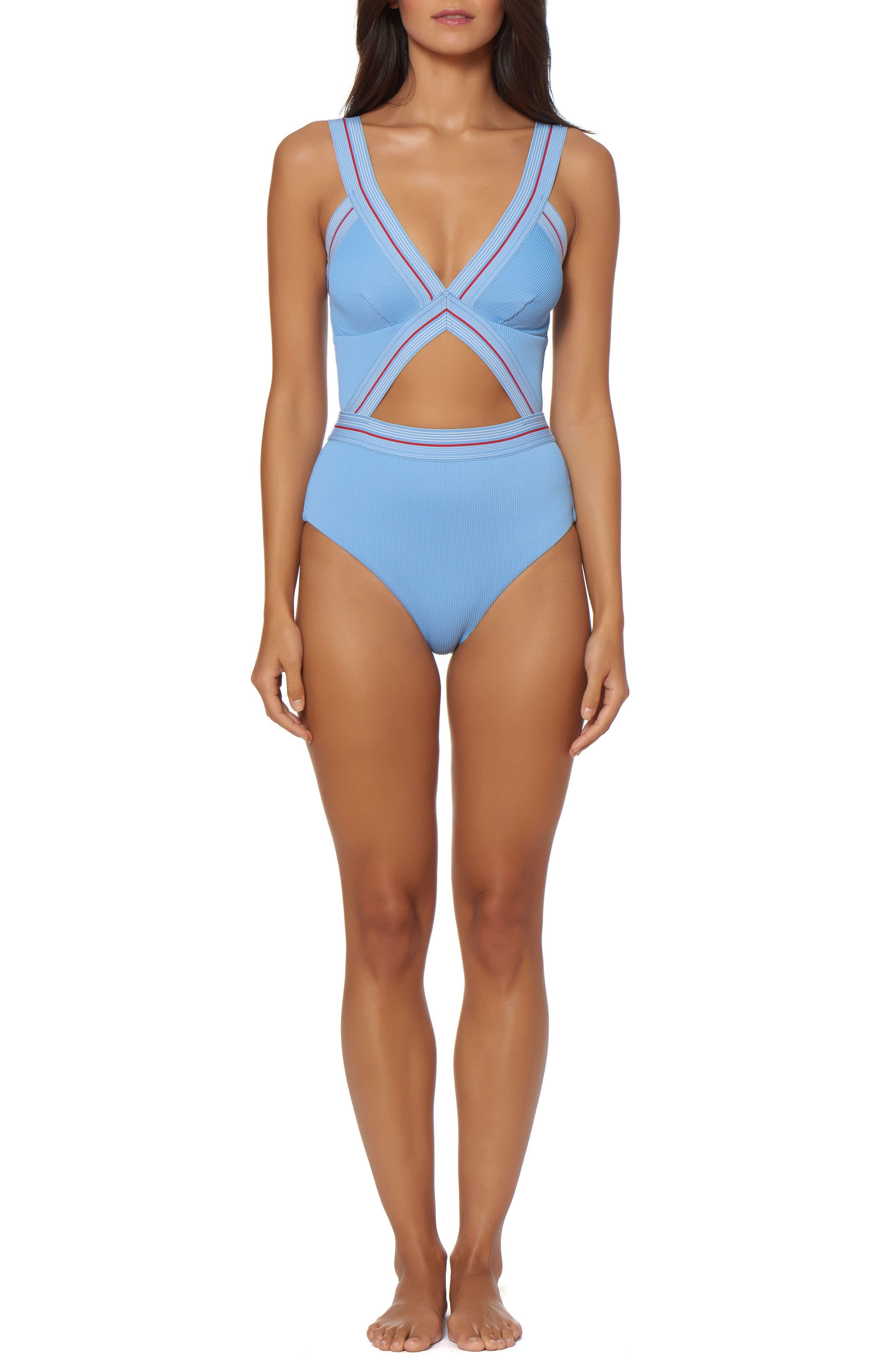 Bondi Beach One-Piece Swimsuit,                         Main,                         color, Chambray