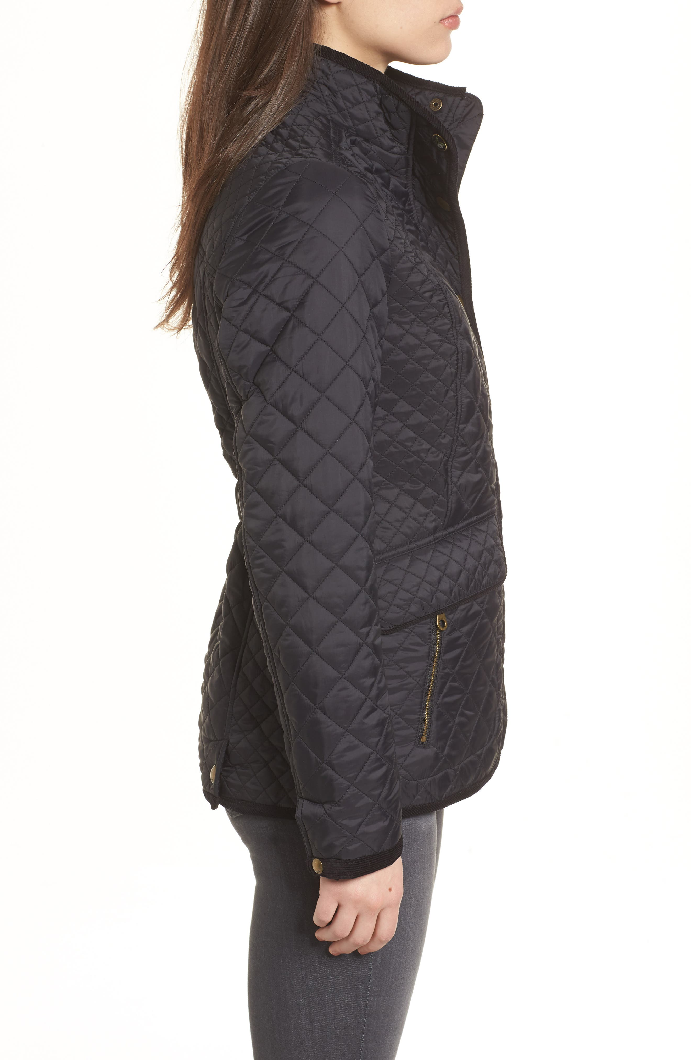 Warm Welcome Quilted Jacket,                             Alternate thumbnail 3, color,                             Black
