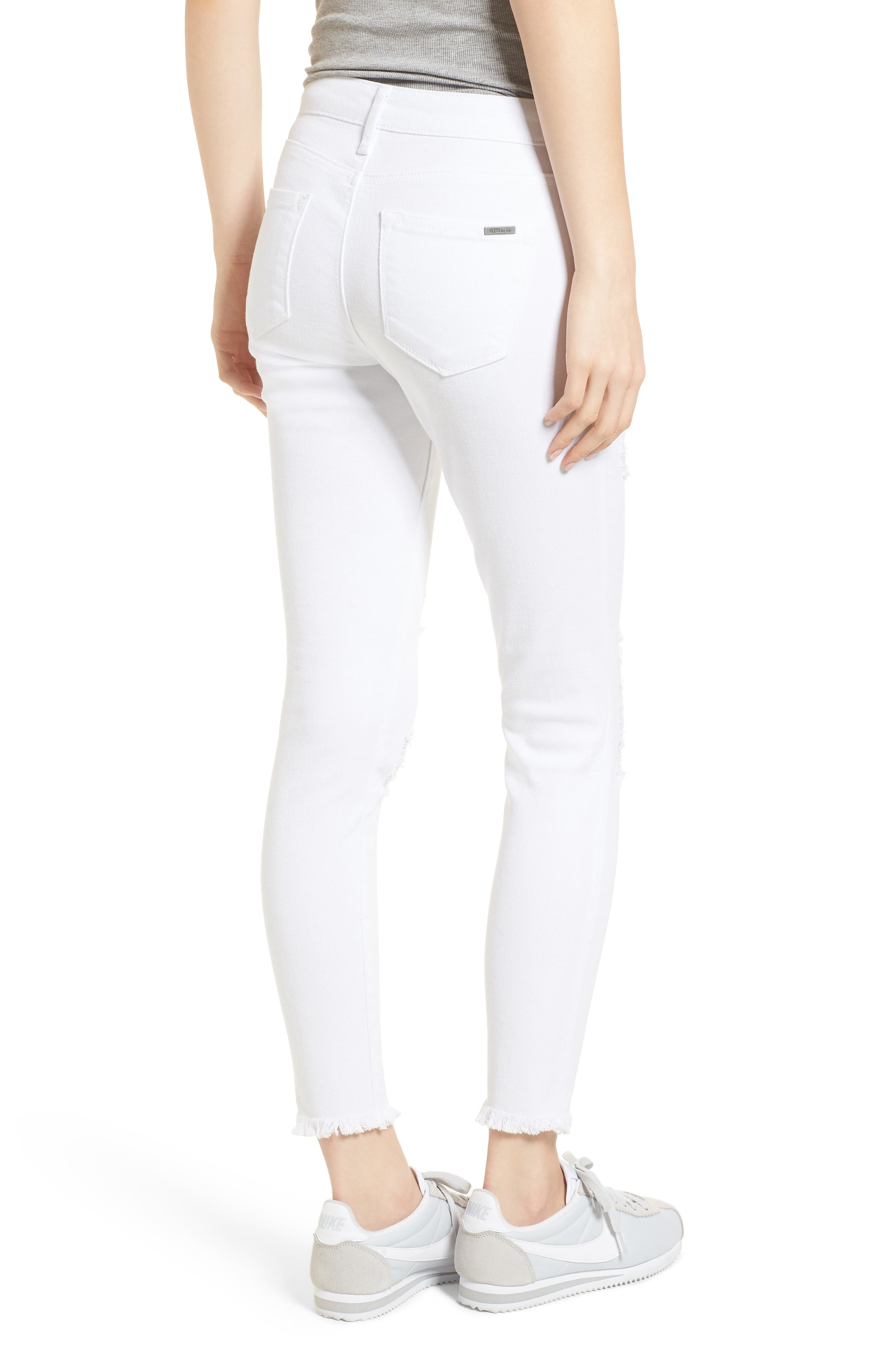 Emma Distressed Skinny Jeans,                             Alternate thumbnail 2, color,                             Optic White