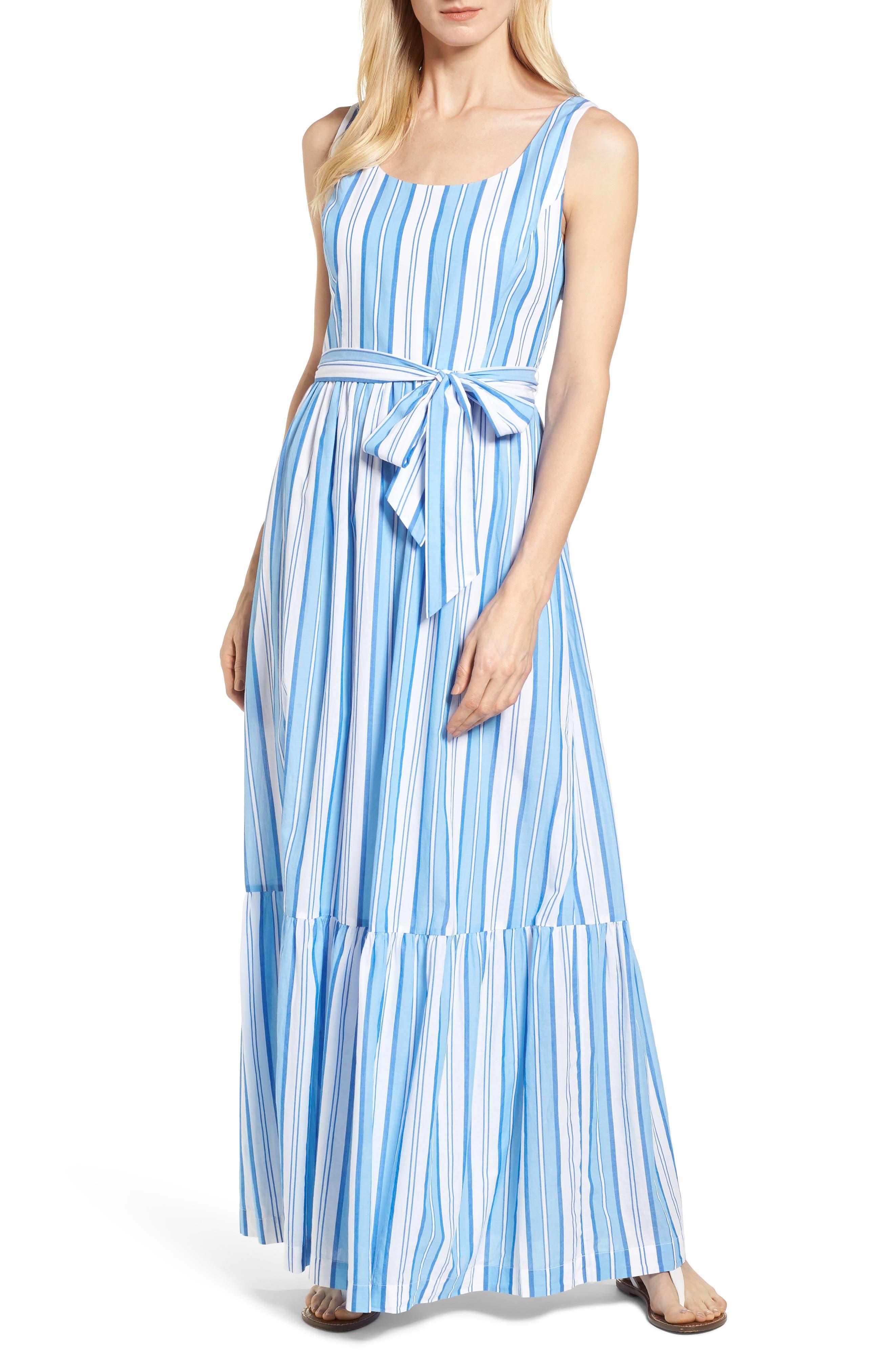 Ocean Stripe Tiered Maxi Dress,                             Main thumbnail 1, color,                             Blue Jay