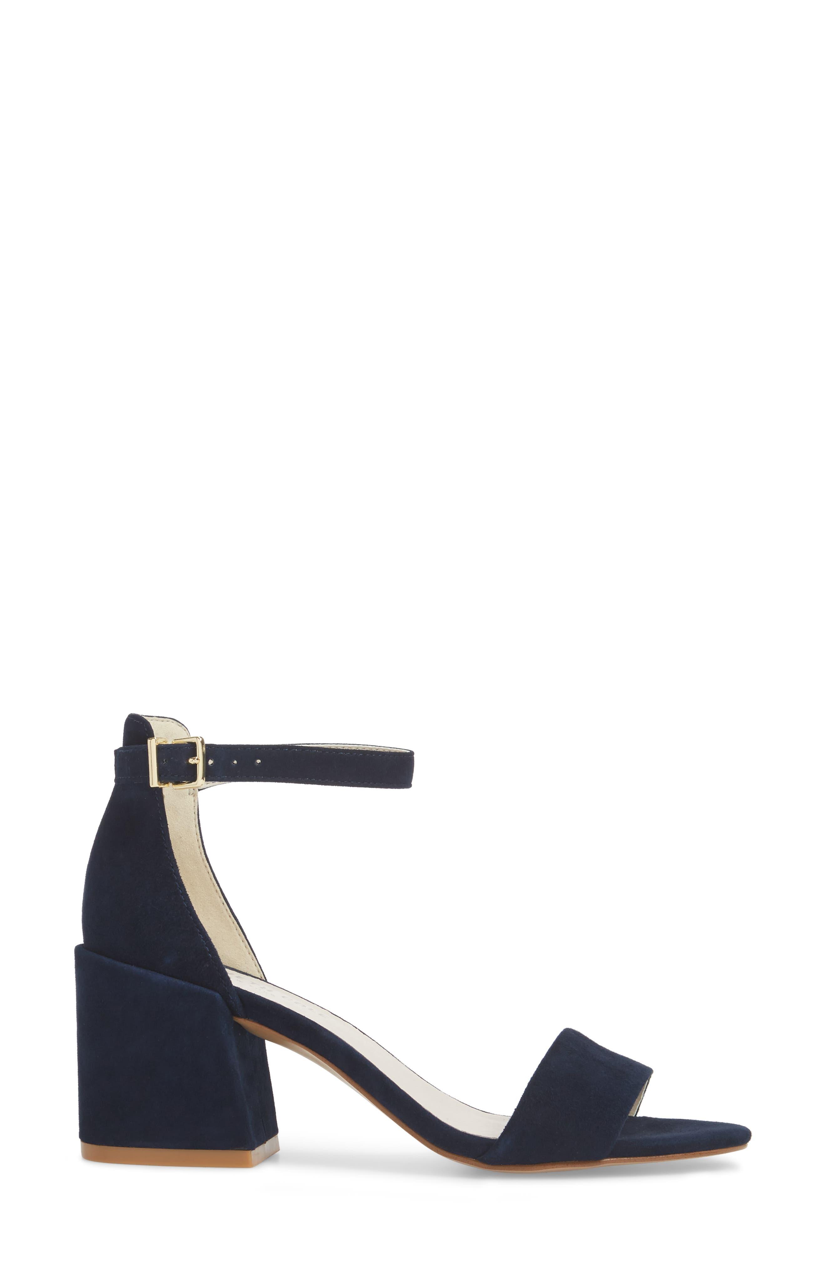 Hannon Block Heel Ankle Strap Sandal,                             Alternate thumbnail 3, color,                             Navy Suede