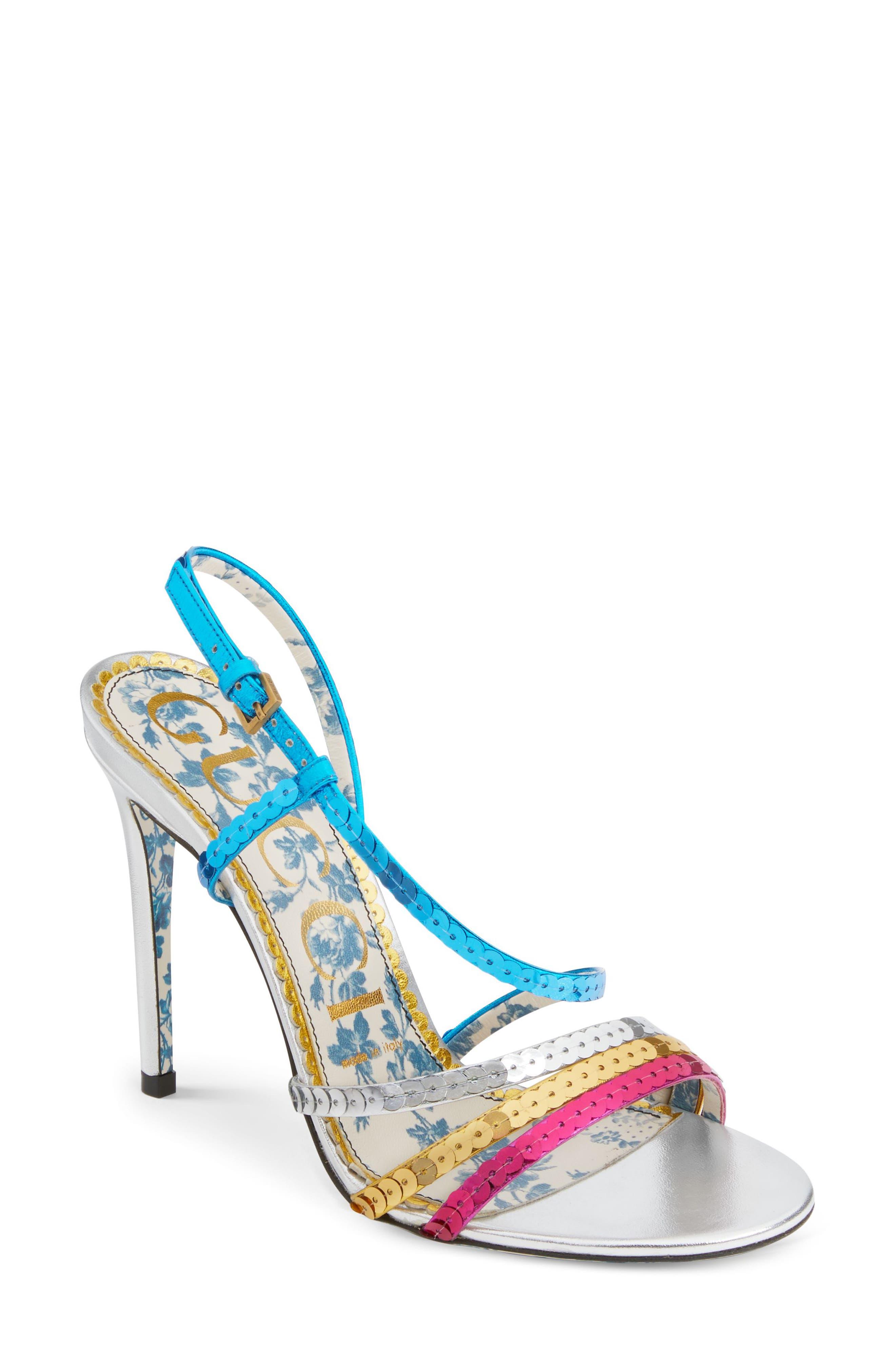 Sequin Sandal,                             Main thumbnail 1, color,                             Silver/ Blue/ Pink