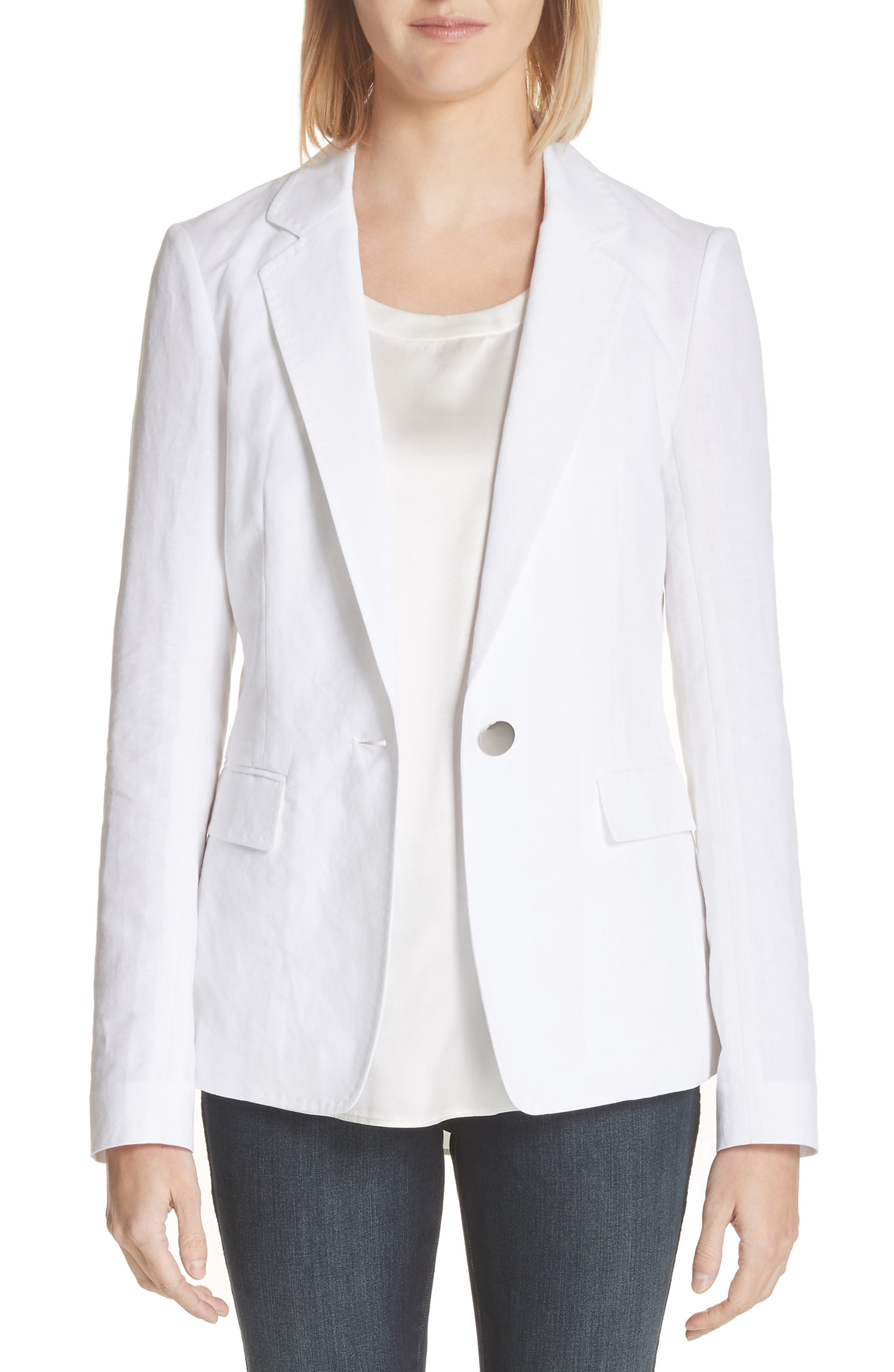 Lyndon Courtly Cotton & Linen Jacket,                             Main thumbnail 1, color,                             White