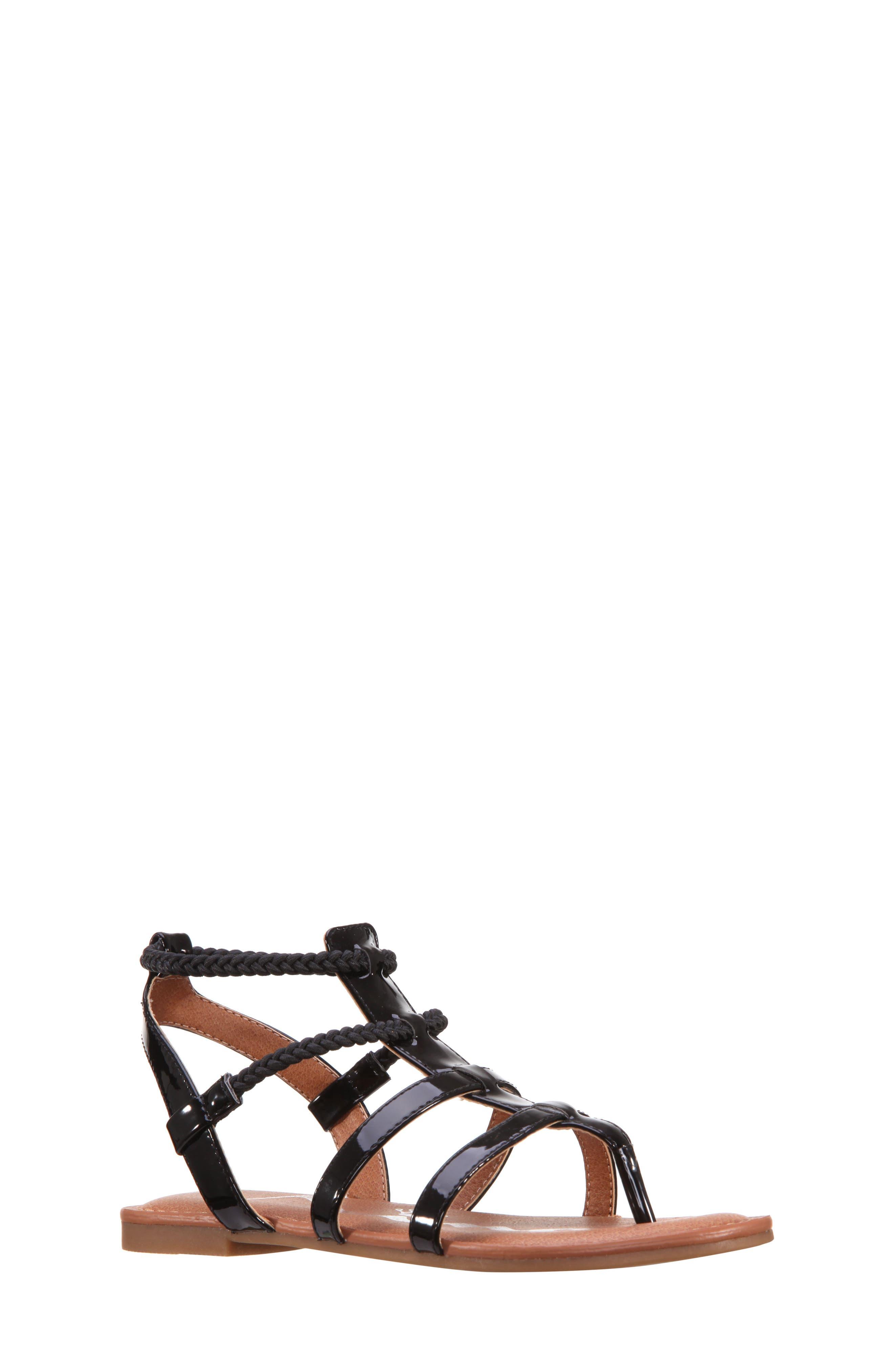 Margaree Gladiator Thong Sandal,                             Main thumbnail 1, color,                             Black Patent