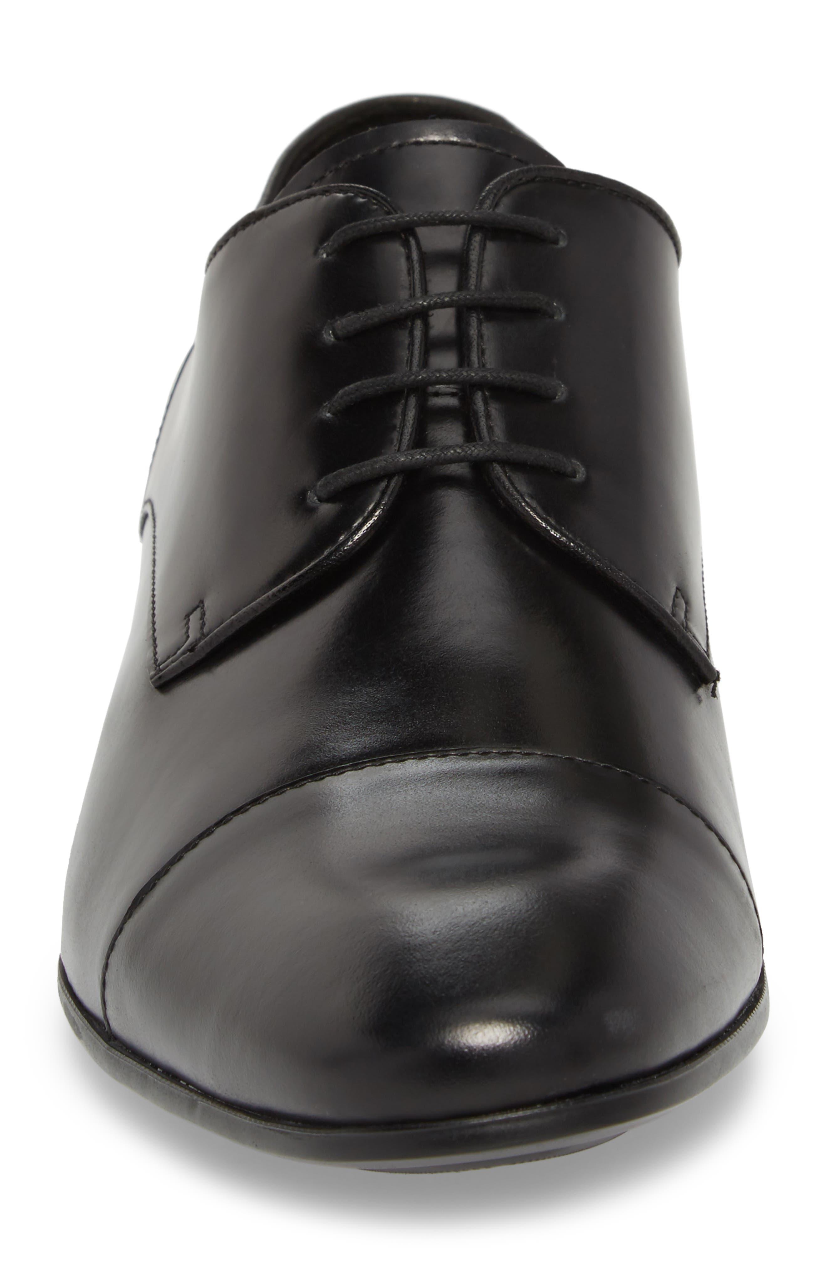 Cap Toe Oxford,                             Alternate thumbnail 4, color,                             Black Leather