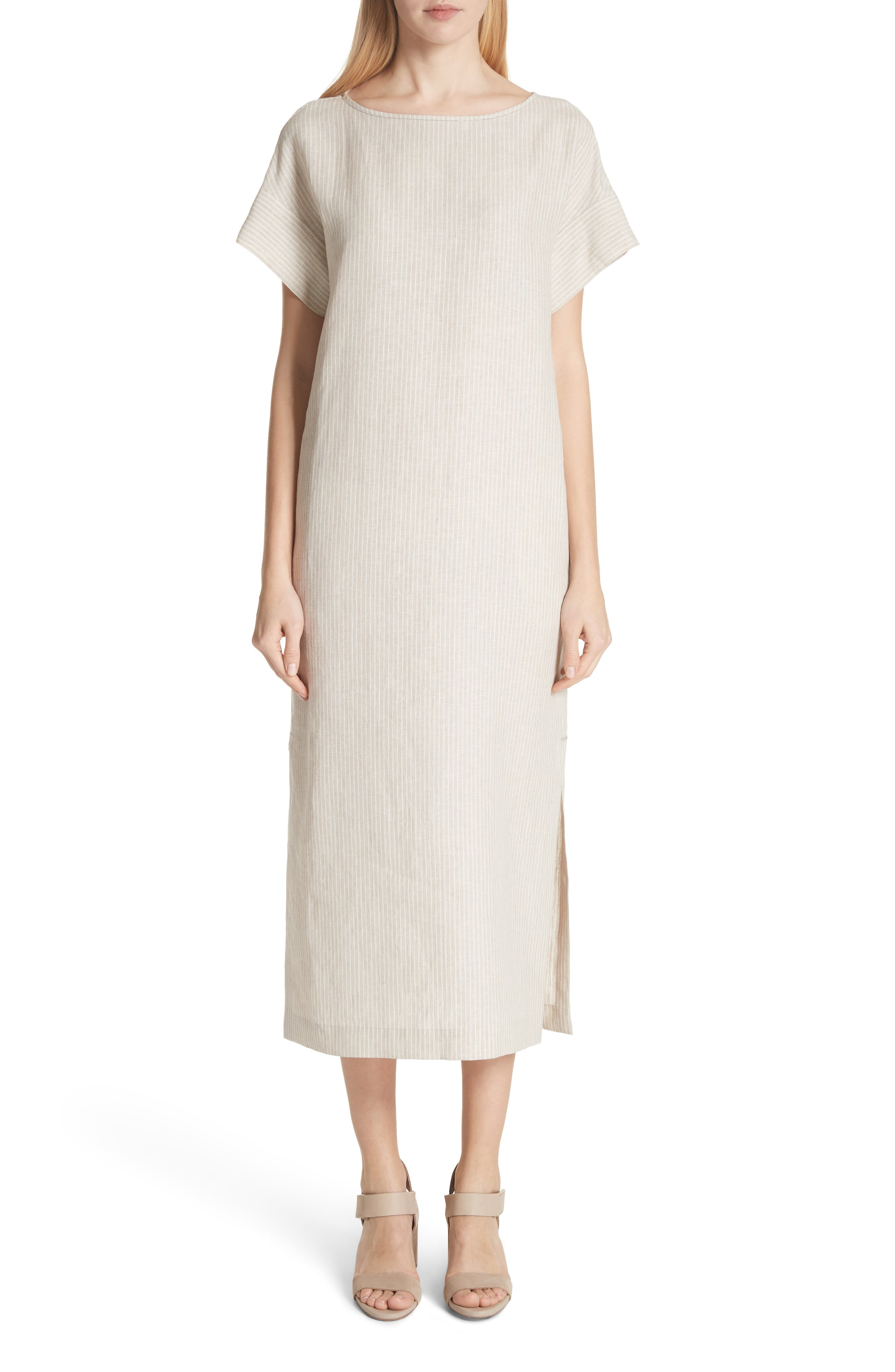 Emiline Stripe Linen Dress,                         Main,                         color, Tahini Multi