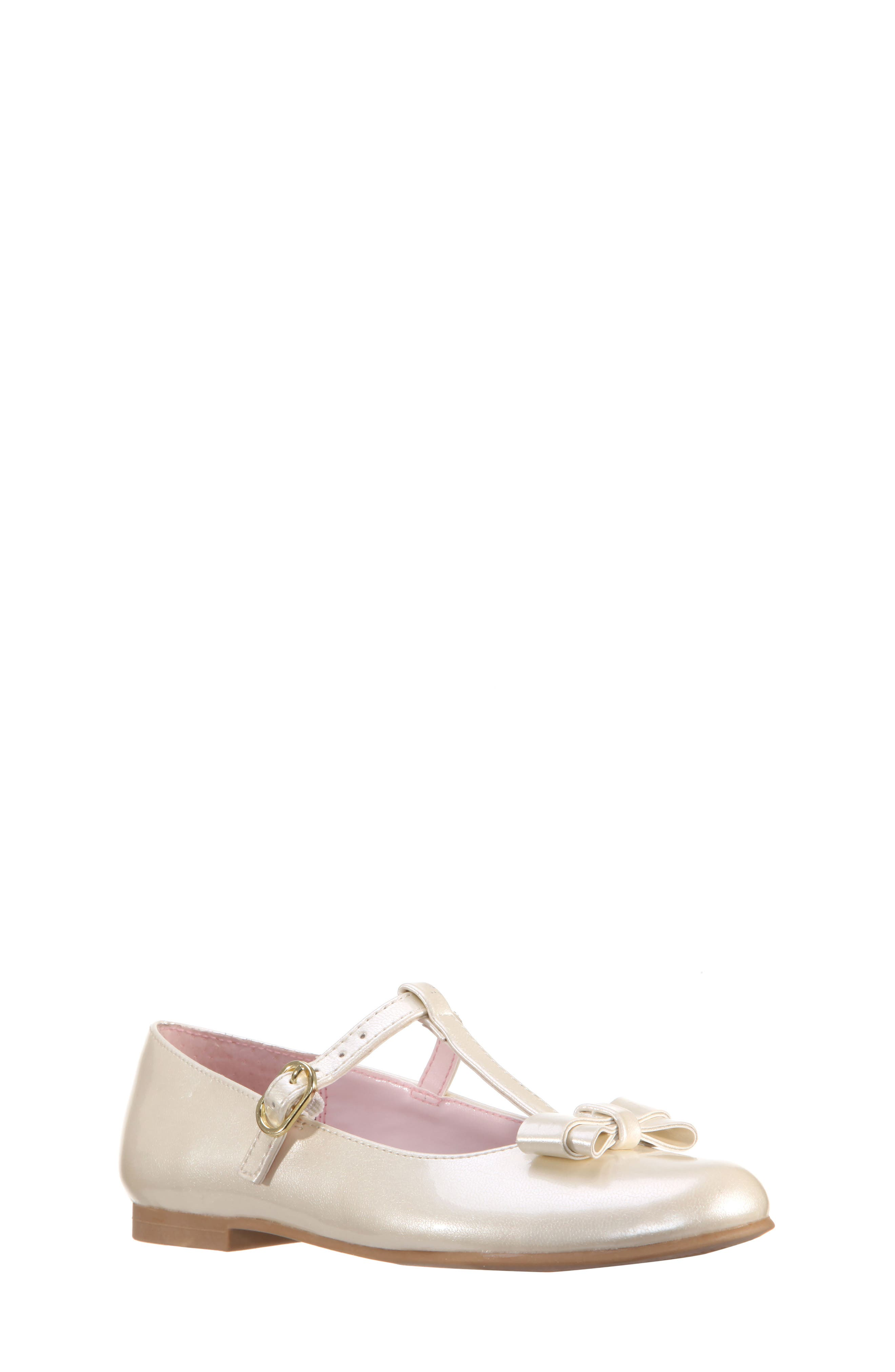 Merrilyn T-Strap Bow Flat,                         Main,                         color, Ivory Patent