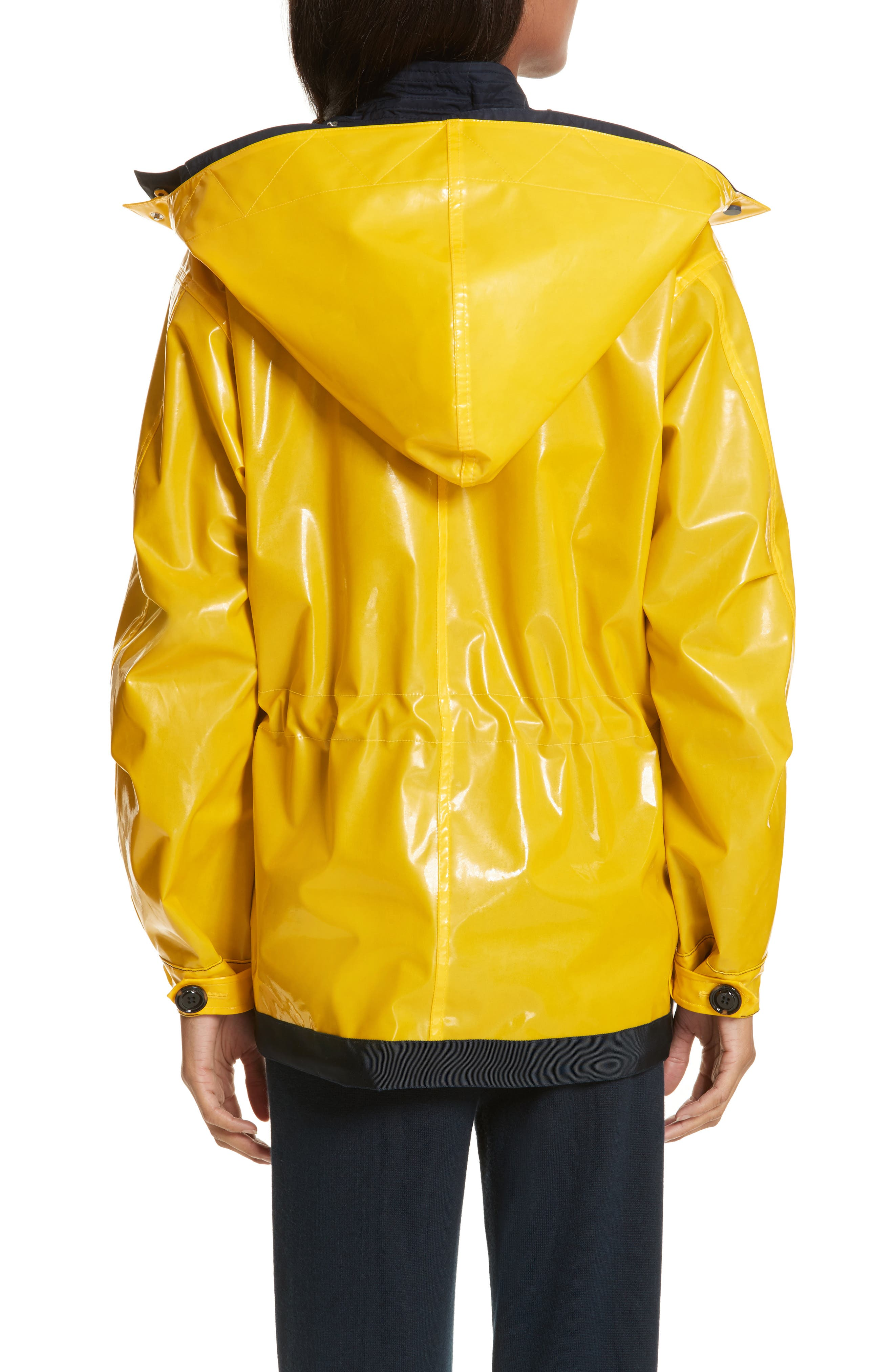 Reversible Rain Jacket,                             Alternate thumbnail 3, color,                             Tory Navy/ Cyber Yellow