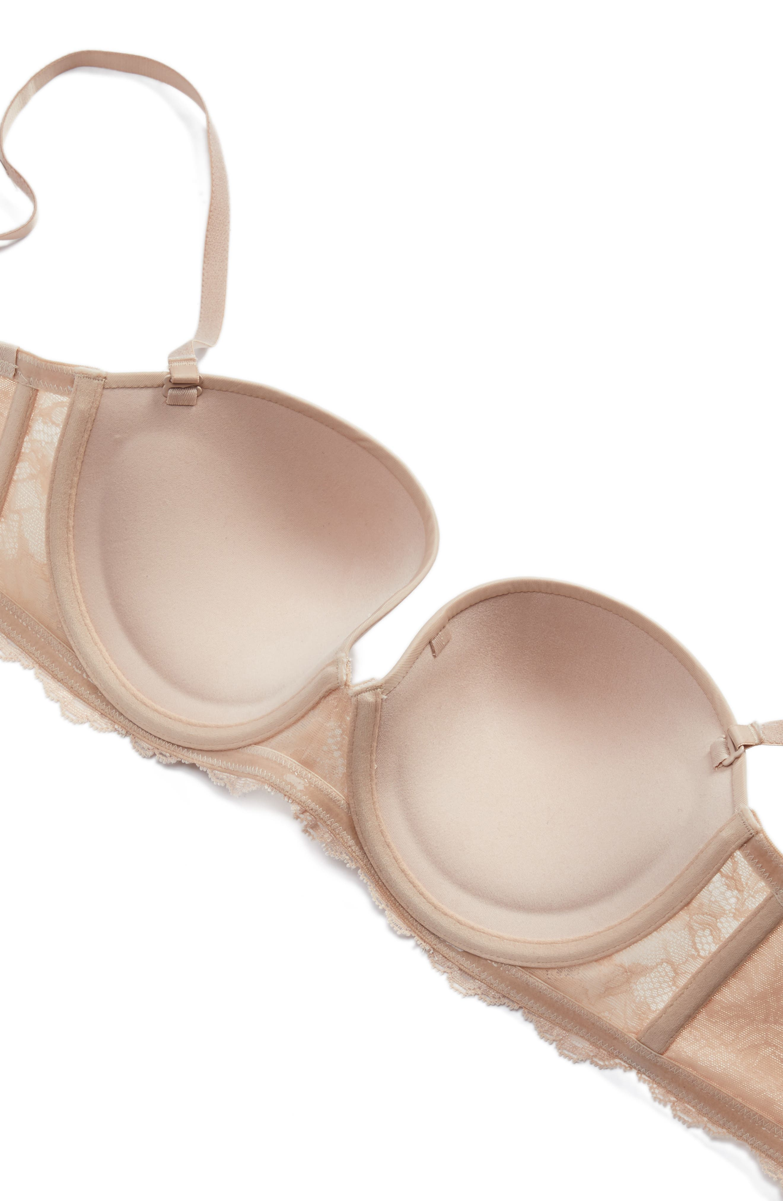 Beautifully Basic Strapless Underwire Bra,                             Alternate thumbnail 6, color,                             Champagne