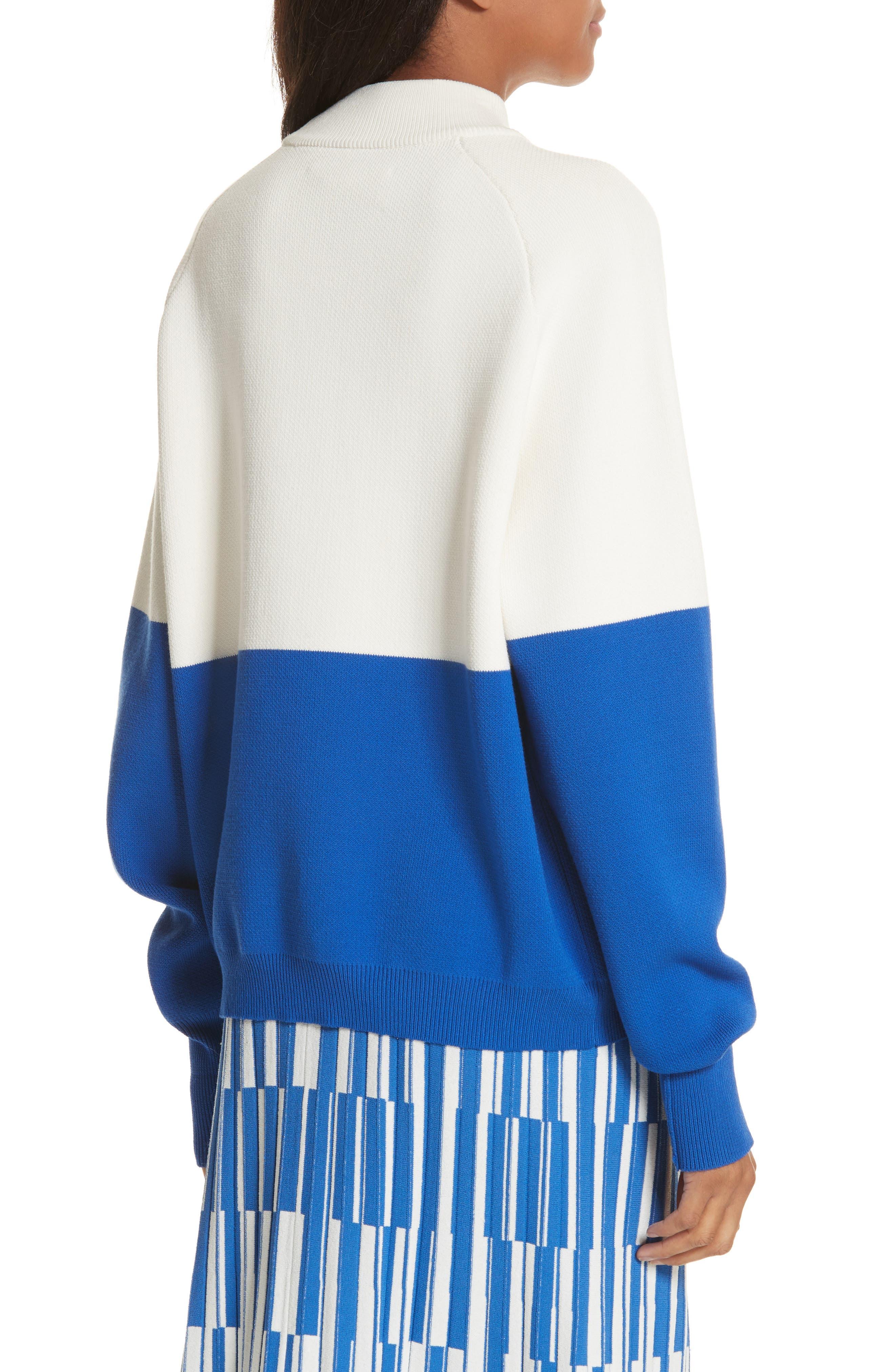 Colorblock Raglan Sweater,                             Alternate thumbnail 3, color,                             Snow White/ Slalom Blue