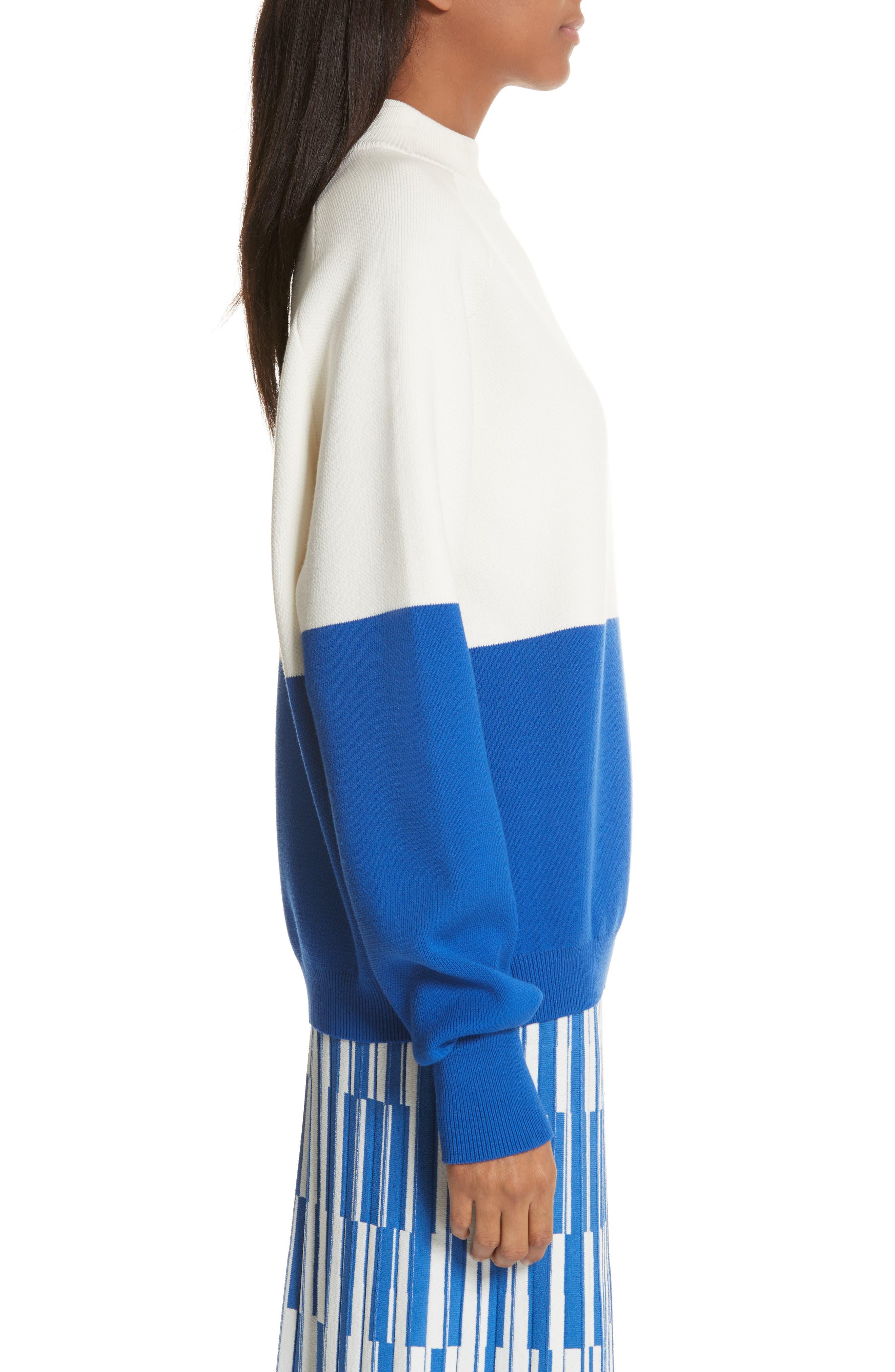 Colorblock Raglan Sweater,                             Alternate thumbnail 4, color,                             Snow White/ Slalom Blue